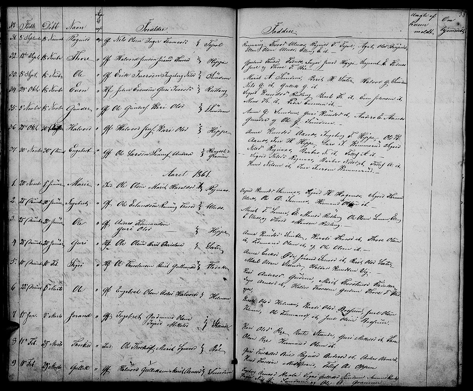 SAH, Nord-Aurdal prestekontor, Klokkerbok nr. 4, 1842-1882, s. 38