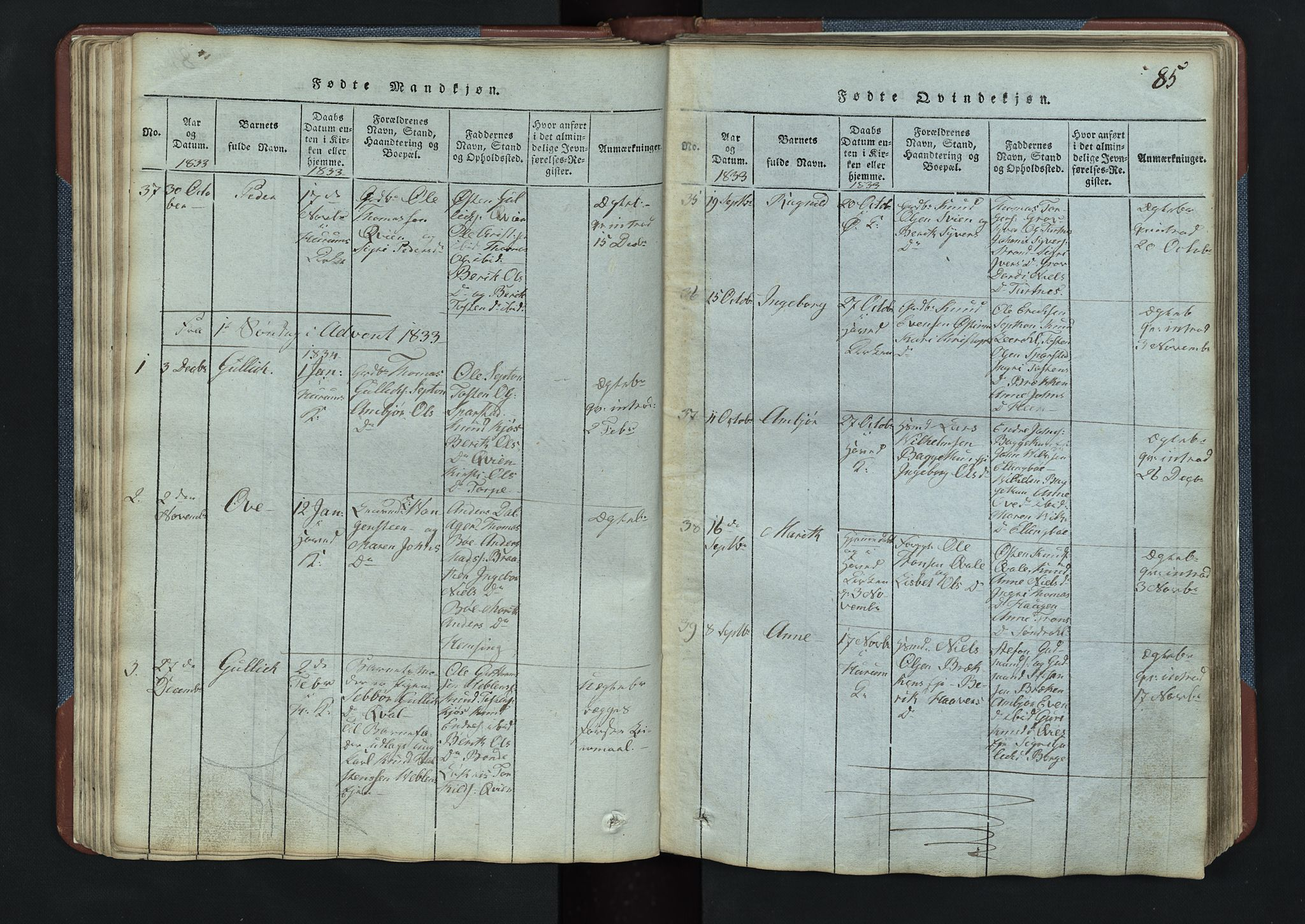SAH, Vang prestekontor, Valdres, Klokkerbok nr. 3, 1814-1892, s. 85