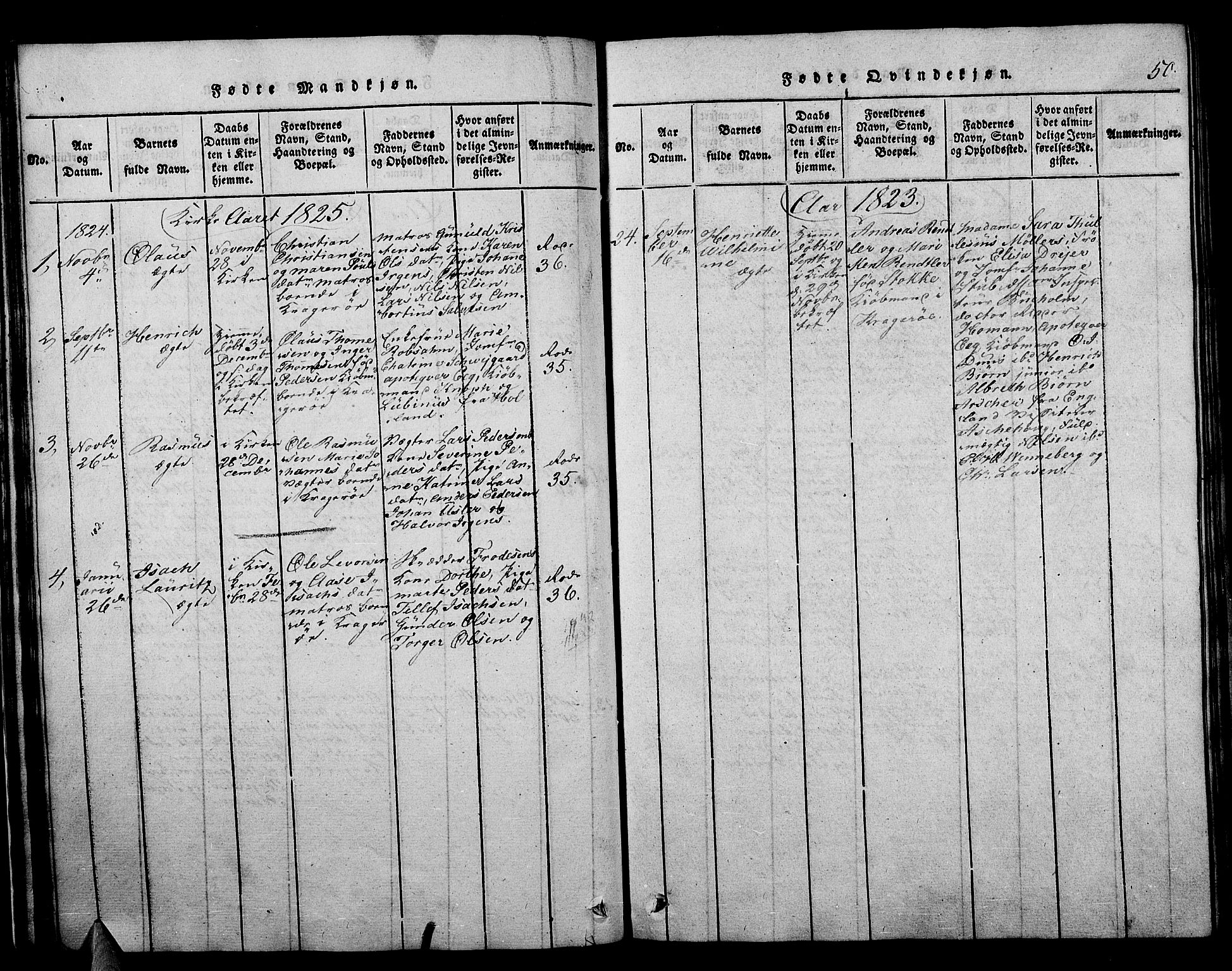 SAKO, Kragerø kirkebøker, F/Fa/L0004: Ministerialbok nr. 4, 1814-1831, s. 50