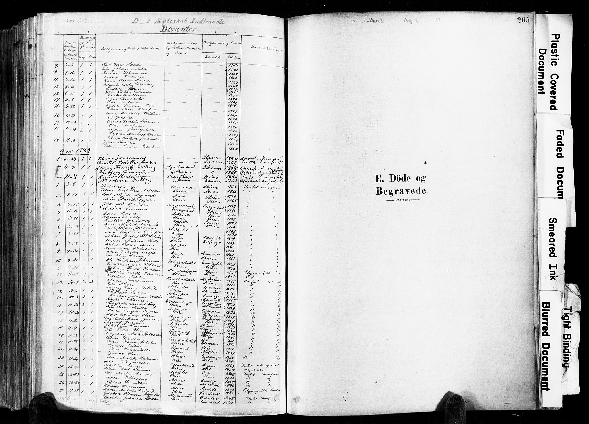SAKO, Skien kirkebøker, F/Fa/L0009: Ministerialbok nr. 9, 1878-1890, s. 265