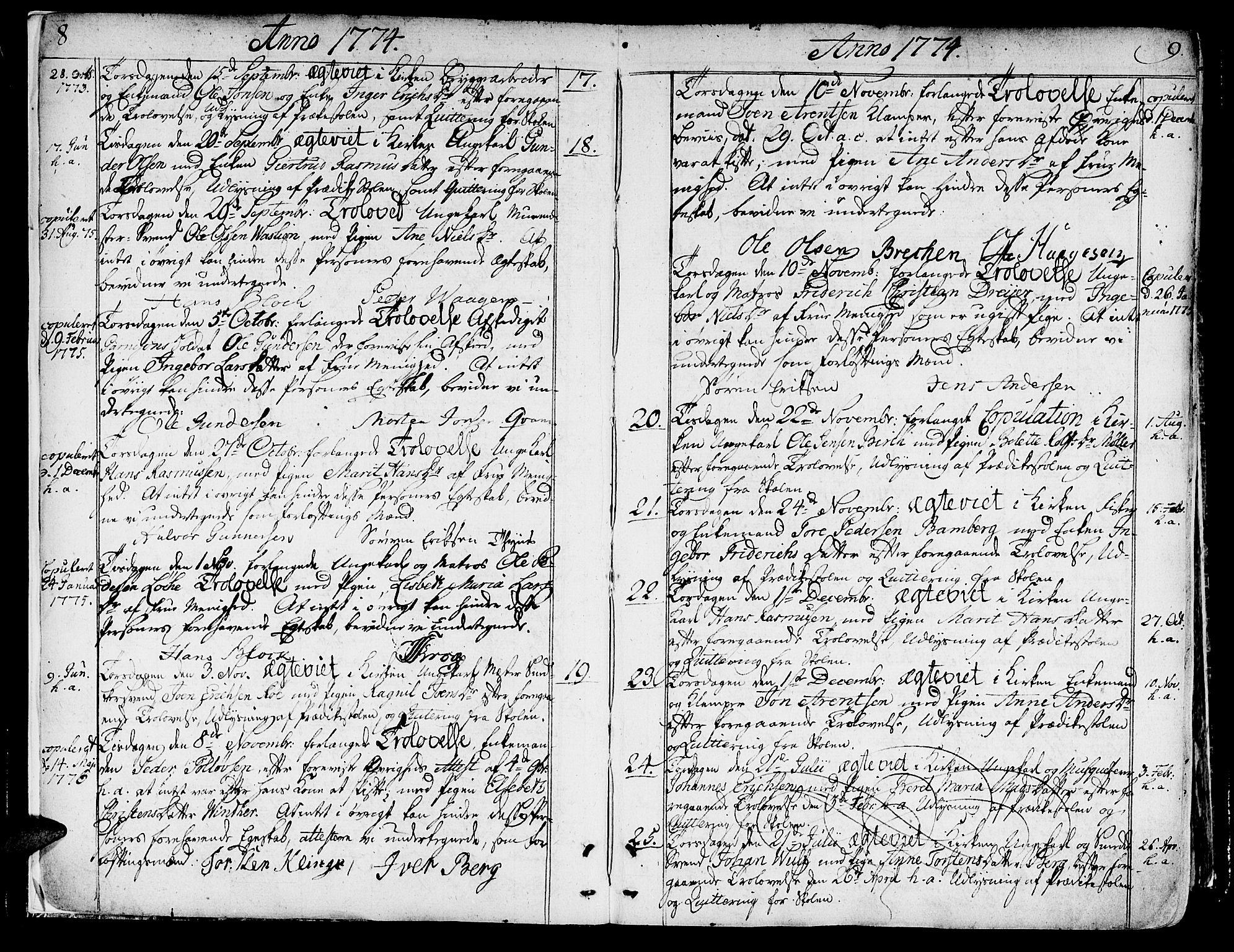 SAT, Ministerialprotokoller, klokkerbøker og fødselsregistre - Sør-Trøndelag, 602/L0105: Ministerialbok nr. 602A03, 1774-1814, s. 8-9