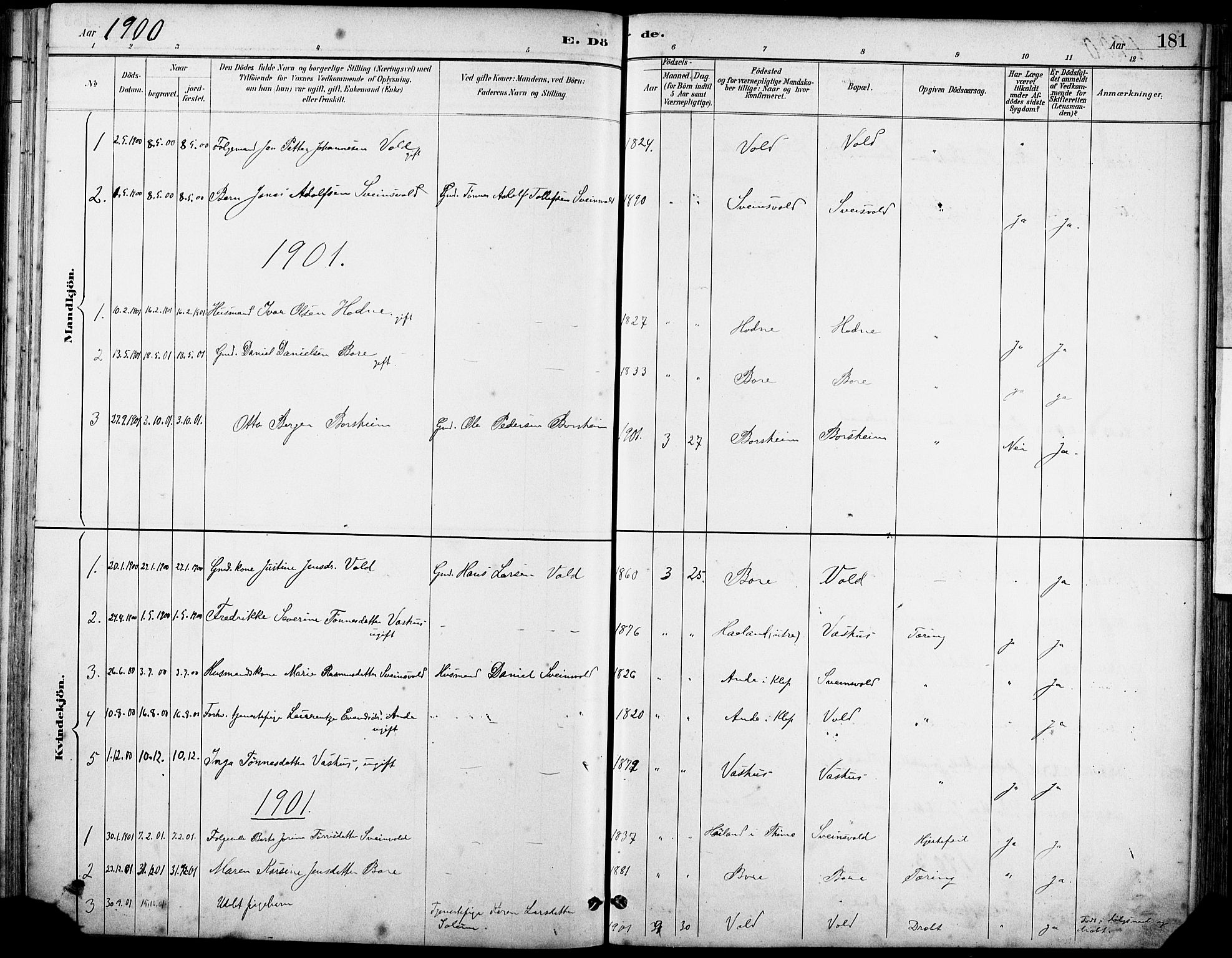 SAST, Klepp sokneprestkontor, 30BA/L0008: Ministerialbok nr. A 9, 1886-1919, s. 181