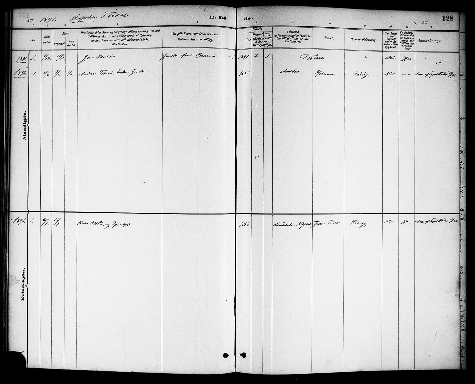 SAKO, Drangedal kirkebøker, F/Fa/L0011: Ministerialbok nr. 11 /2, 1885-1894, s. 128