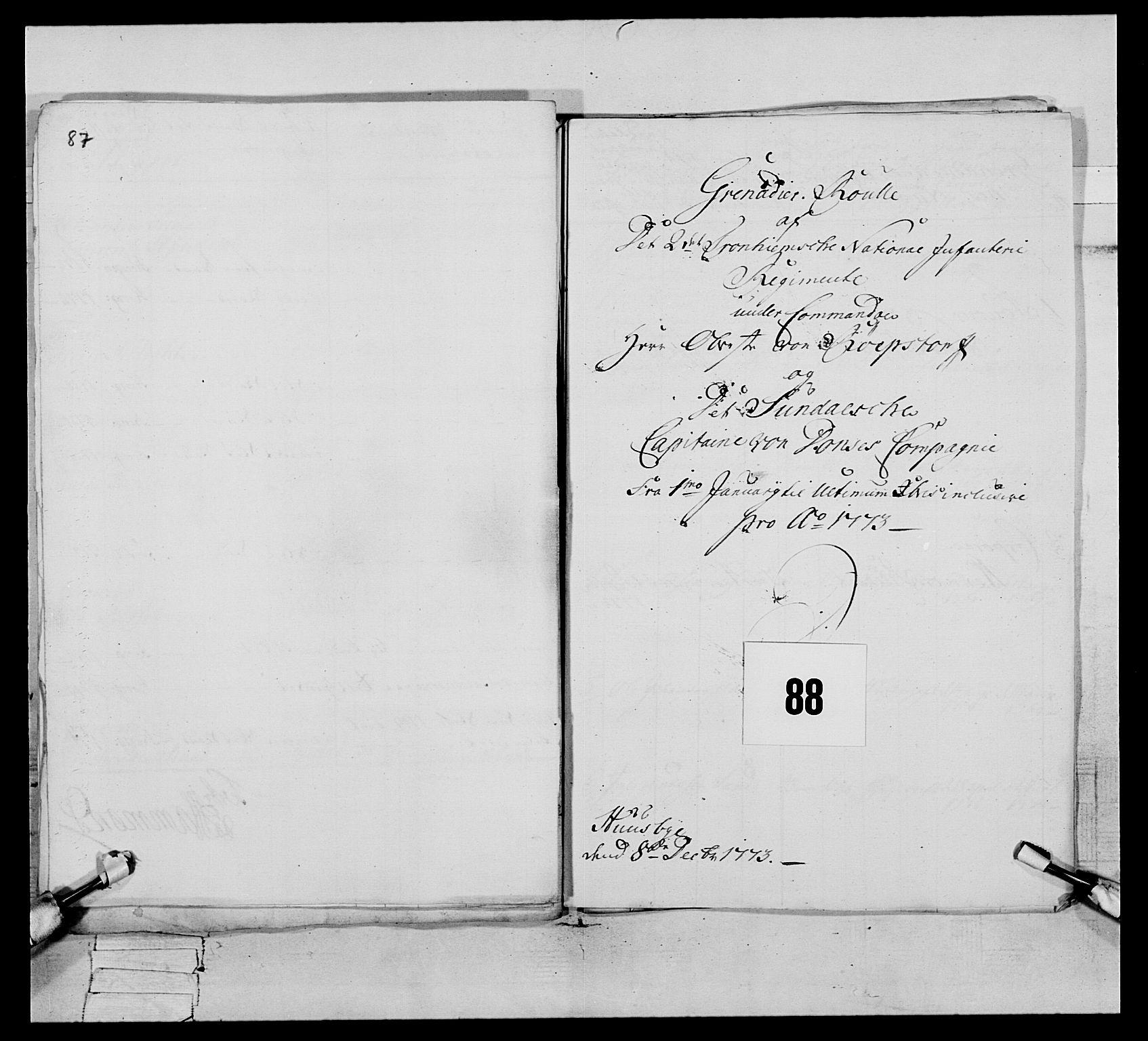 RA, Generalitets- og kommissariatskollegiet, Det kongelige norske kommissariatskollegium, E/Eh/L0076: 2. Trondheimske nasjonale infanteriregiment, 1766-1773, s. 499