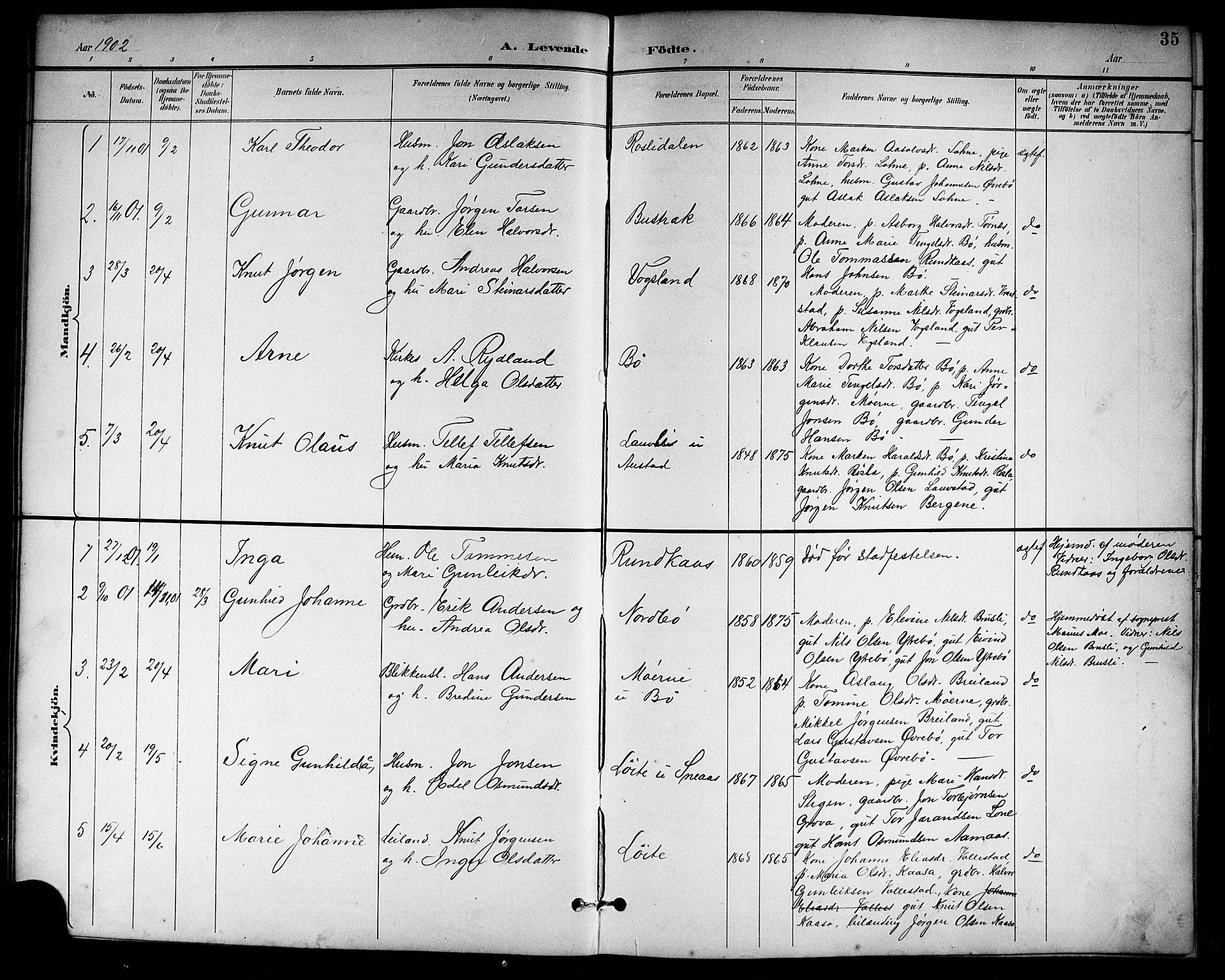 SAKO, Drangedal kirkebøker, G/Gb/L0002: Klokkerbok nr. II 2, 1895-1918, s. 35