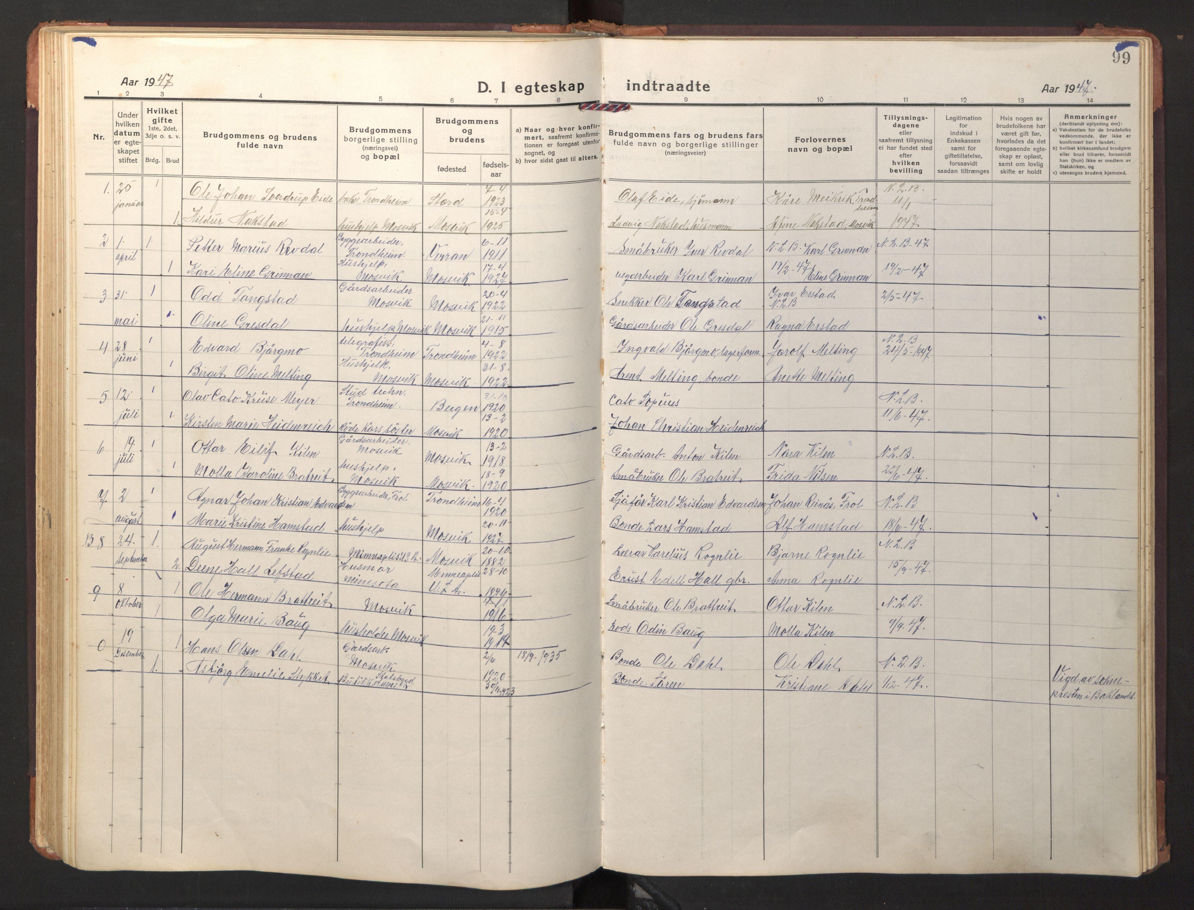 SAT, Ministerialprotokoller, klokkerbøker og fødselsregistre - Nord-Trøndelag, 733/L0328: Klokkerbok nr. 733C03, 1919-1966, s. 99