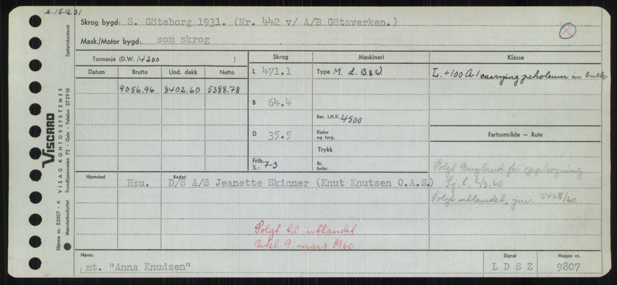 RA, Sjøfartsdirektoratet med forløpere, Skipsmålingen, H/Hd/L0001: Fartøy, A-Anv, s. 689