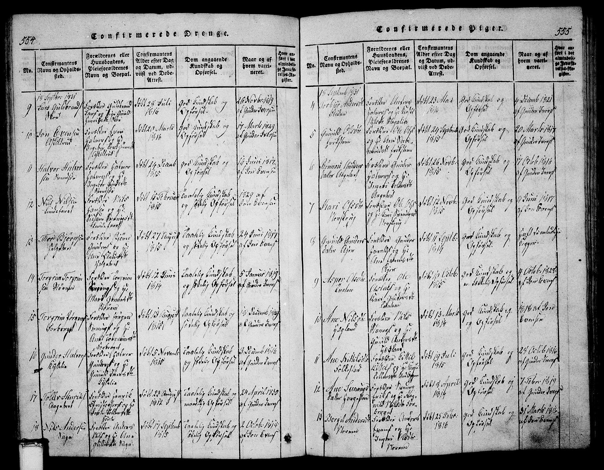 SAKO, Bø kirkebøker, G/Ga/L0001: Klokkerbok nr. 1, 1815-1831, s. 554-555