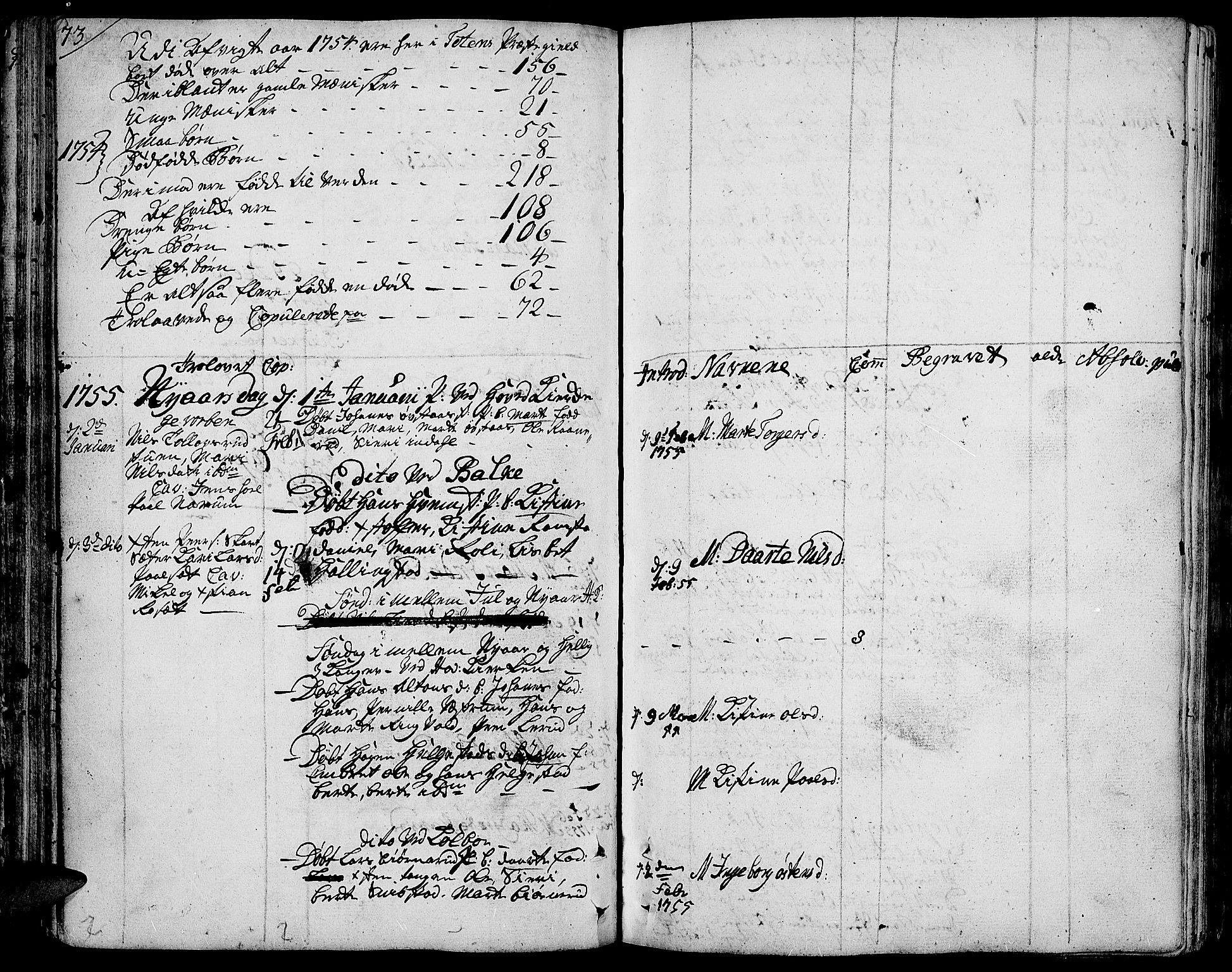 SAH, Toten prestekontor, Ministerialbok nr. 4, 1751-1761, s. 73