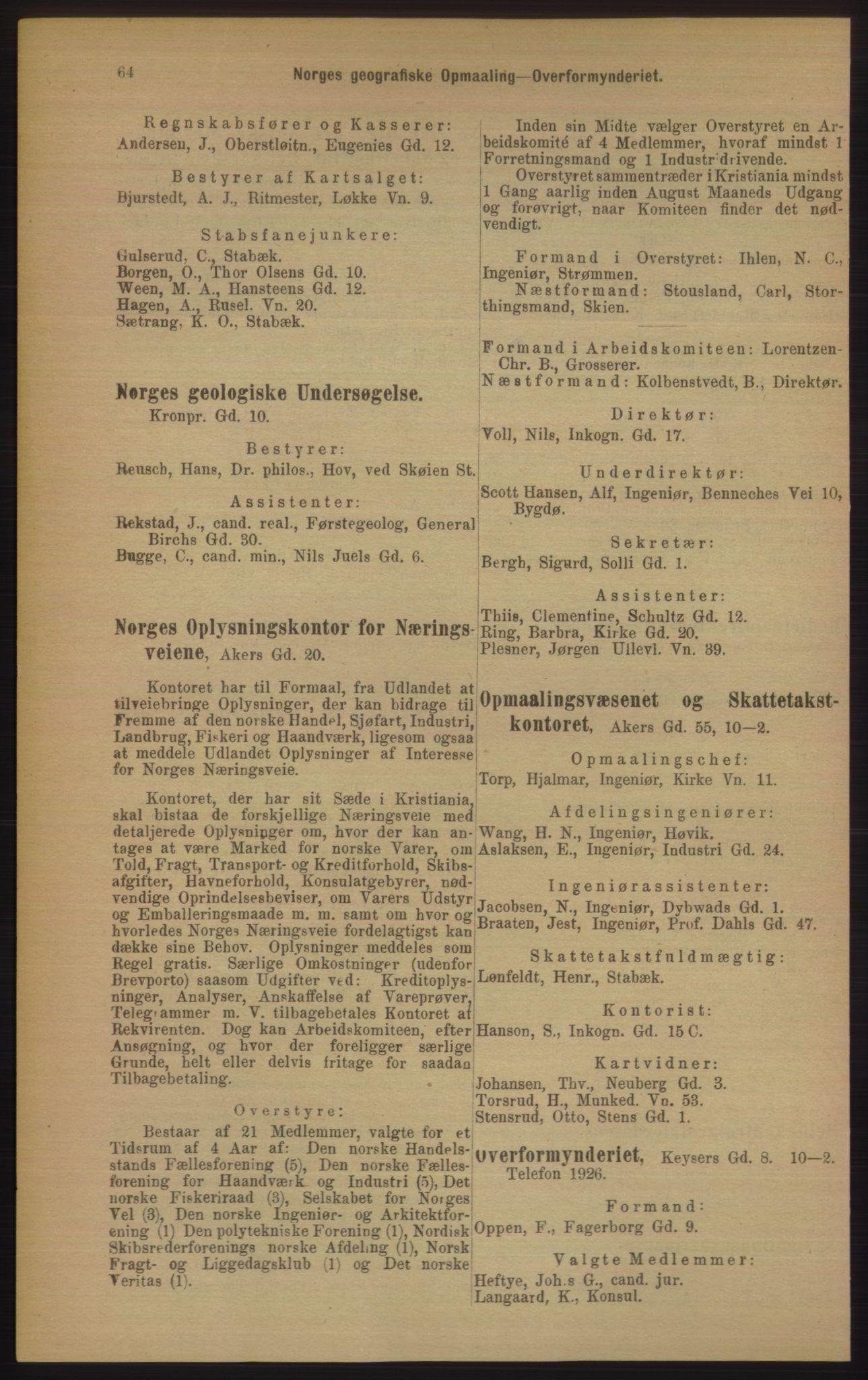 RA, Kristiania adressebok (publikasjon)*, 1906, s. 64