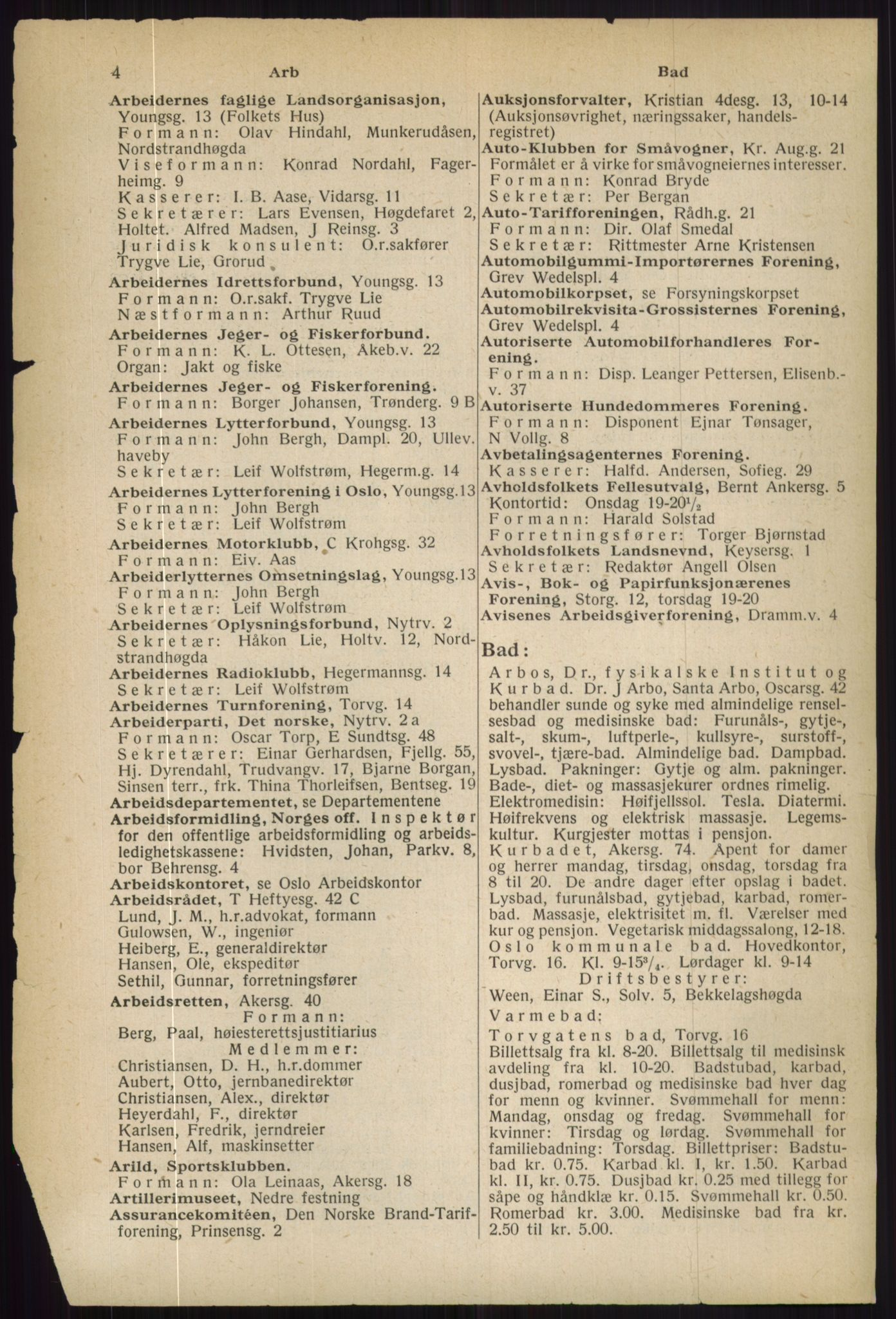RA, Oslo adressebok (publikasjon)*, 1936, s. 4