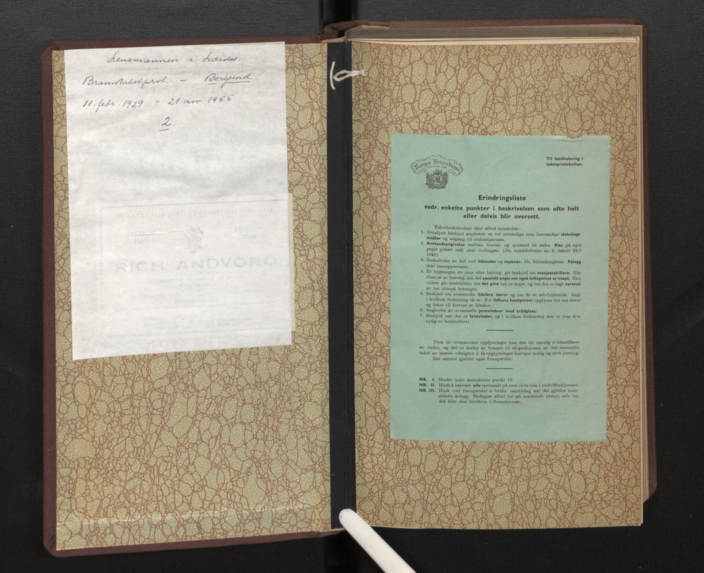 SAB, Lensmannen i Borgund, 0012/L0002: Branntakstprotokoll, 1929-1933