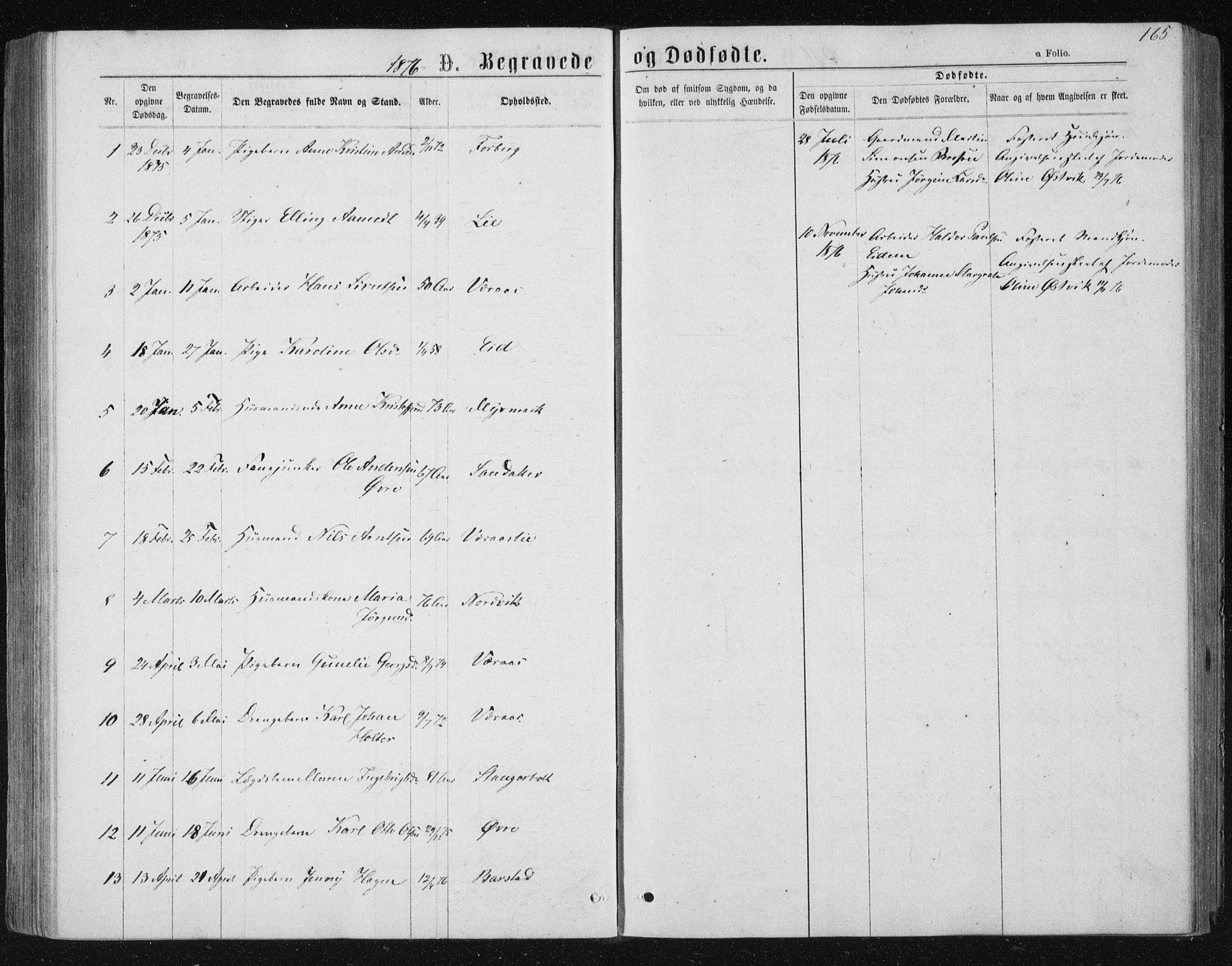 SAT, Ministerialprotokoller, klokkerbøker og fødselsregistre - Nord-Trøndelag, 722/L0219: Ministerialbok nr. 722A06, 1868-1880, s. 165