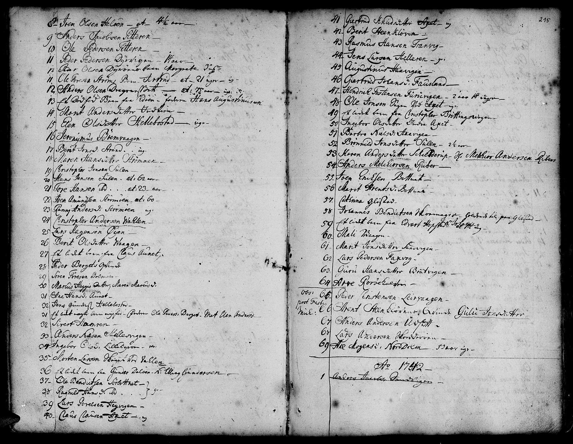SAT, Ministerialprotokoller, klokkerbøker og fødselsregistre - Sør-Trøndelag, 634/L0525: Ministerialbok nr. 634A01, 1736-1775, s. 215