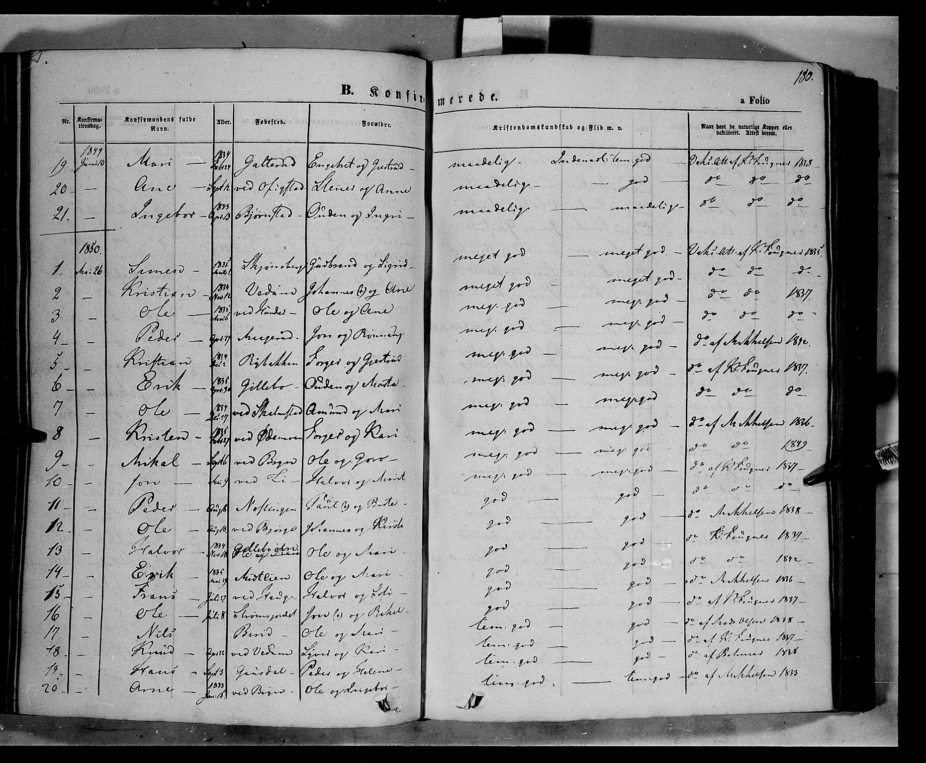 SAH, Øyer prestekontor, Ministerialbok nr. 5, 1842-1857, s. 180