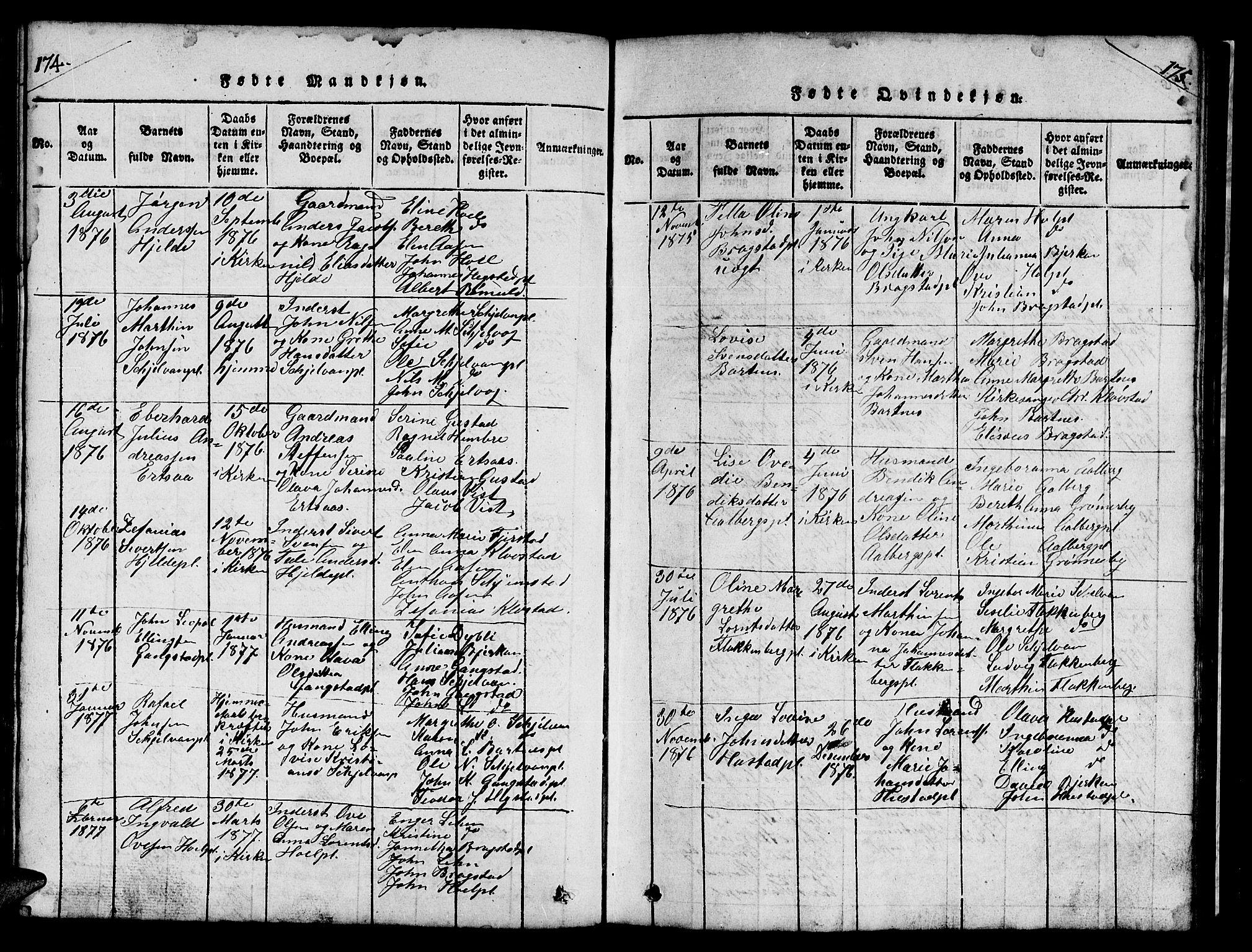 SAT, Ministerialprotokoller, klokkerbøker og fødselsregistre - Nord-Trøndelag, 732/L0317: Klokkerbok nr. 732C01, 1816-1881, s. 174-175