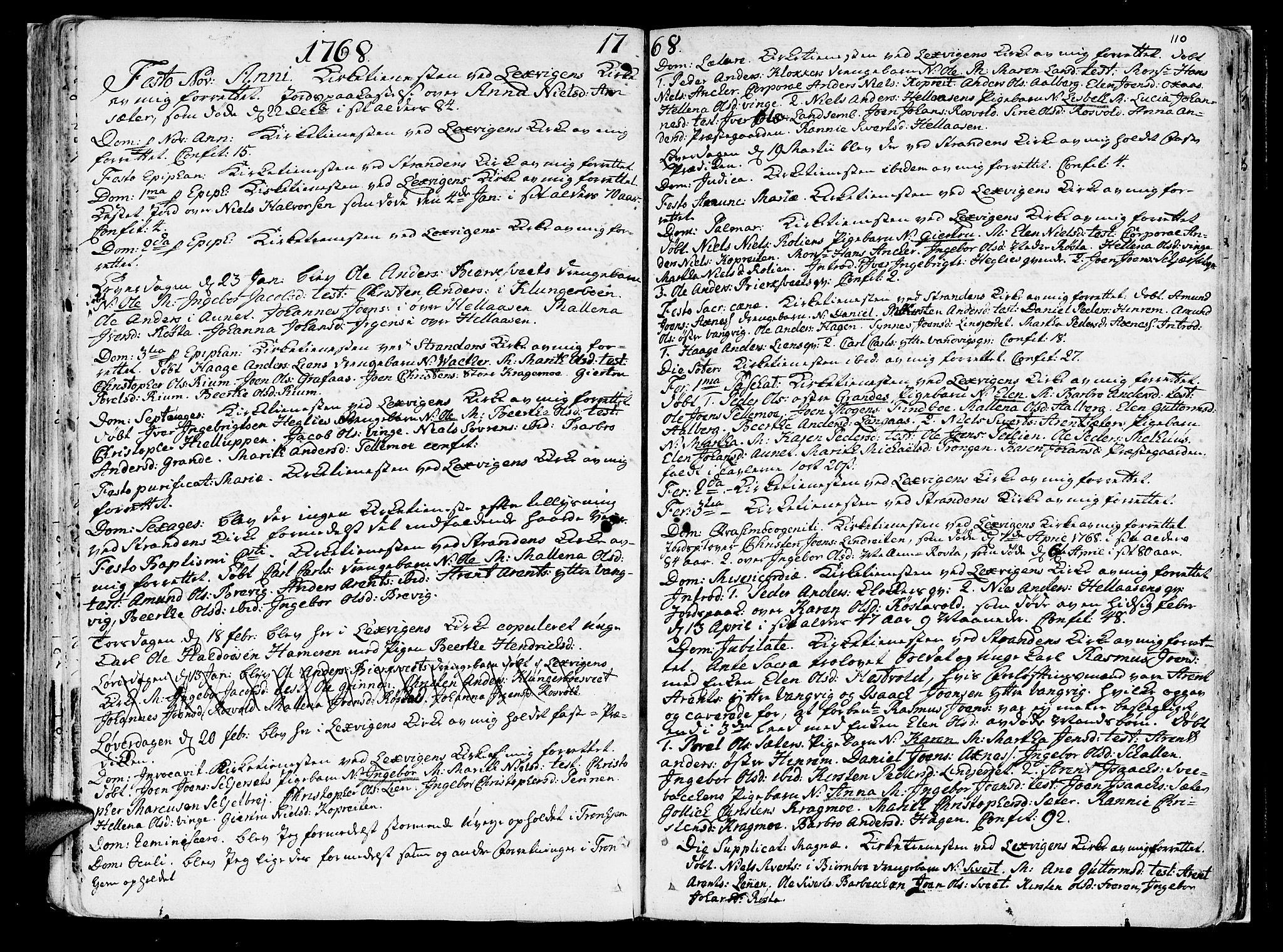 SAT, Ministerialprotokoller, klokkerbøker og fødselsregistre - Nord-Trøndelag, 701/L0003: Ministerialbok nr. 701A03, 1751-1783, s. 110