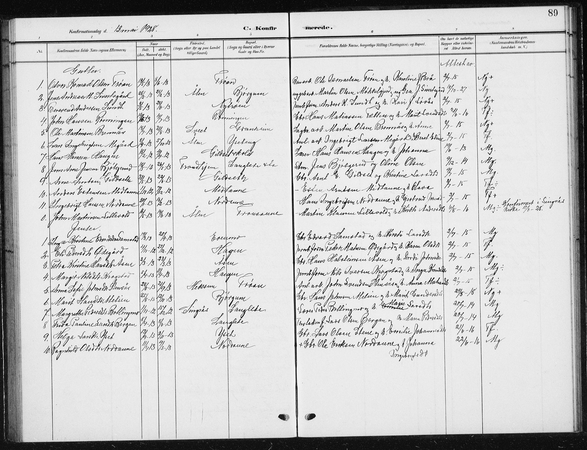 SAT, Ministerialprotokoller, klokkerbøker og fødselsregistre - Sør-Trøndelag, 685/L0979: Klokkerbok nr. 685C04, 1908-1933, s. 89