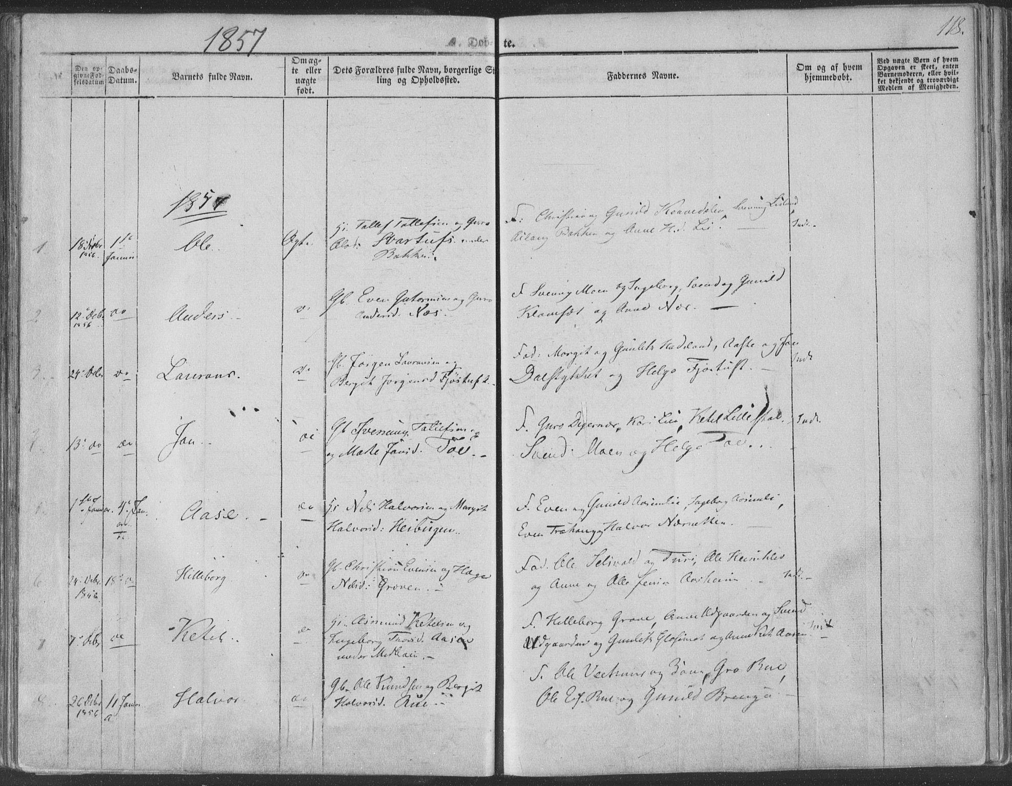 SAKO, Seljord kirkebøker, F/Fa/L012a: Ministerialbok nr. I 12A, 1850-1865, s. 118