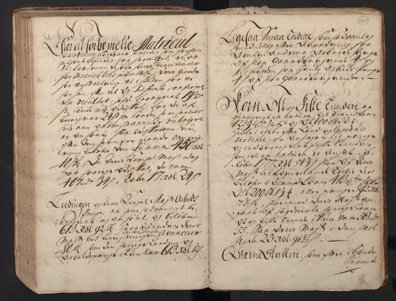 RA, Rentekammeret inntil 1814, Realistisk ordnet avdeling, N/Nb/Nbf/L0123: Nedenes matrikkelprotokoll, 1723, s. 143b-144a