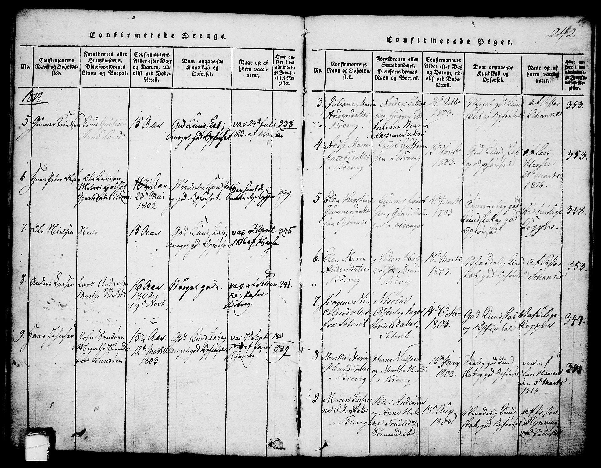 SAKO, Brevik kirkebøker, G/Ga/L0001: Klokkerbok nr. 1, 1814-1845, s. 242