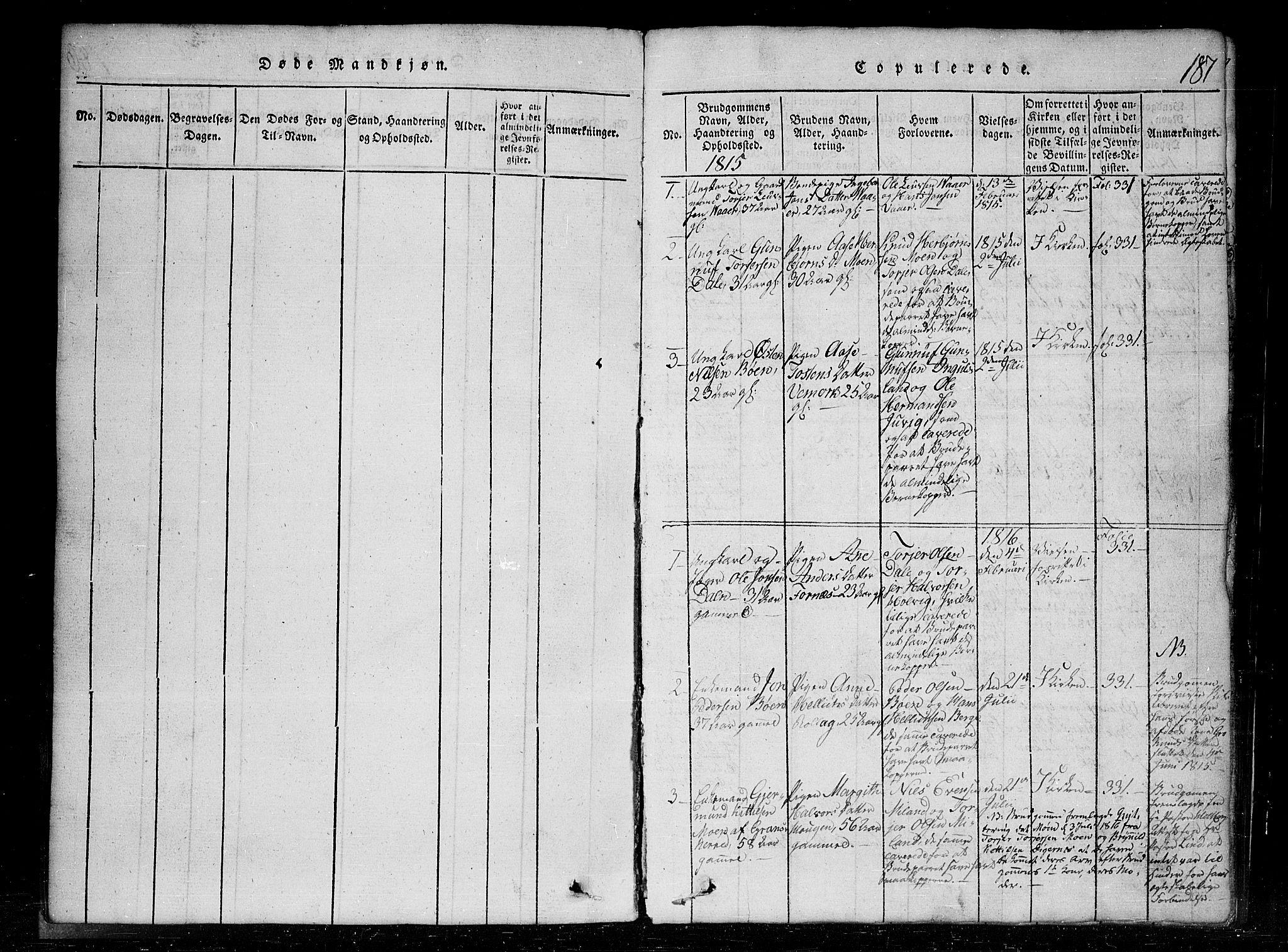 SAKO, Tinn kirkebøker, G/Gc/L0001: Klokkerbok nr. III 1, 1815-1879, s. 187