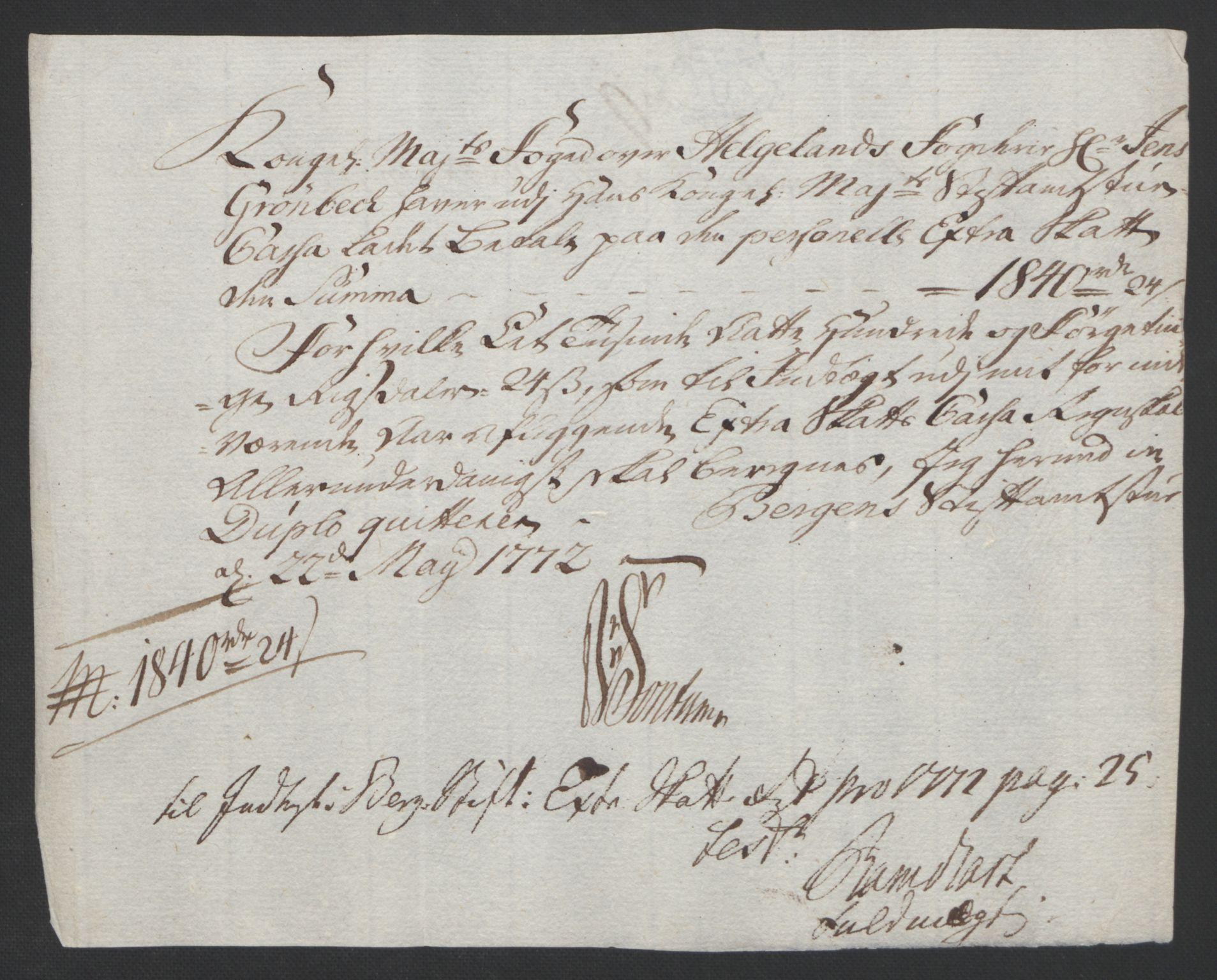 RA, Rentekammeret inntil 1814, Reviderte regnskaper, Fogderegnskap, R65/L4573: Ekstraskatten Helgeland, 1762-1772, s. 436