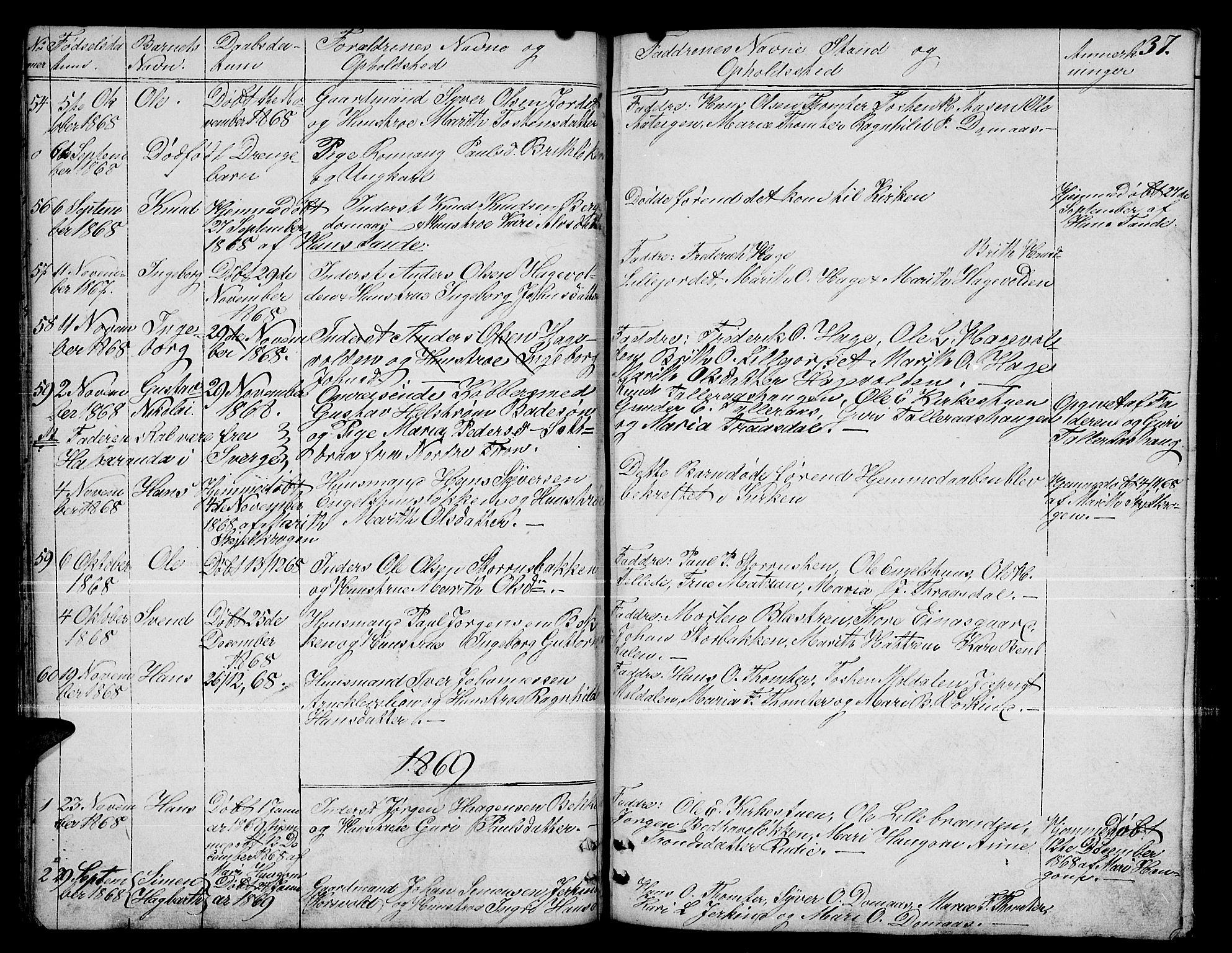 SAH, Dovre prestekontor, Klokkerbok nr. 1, 1862-1880, s. 37
