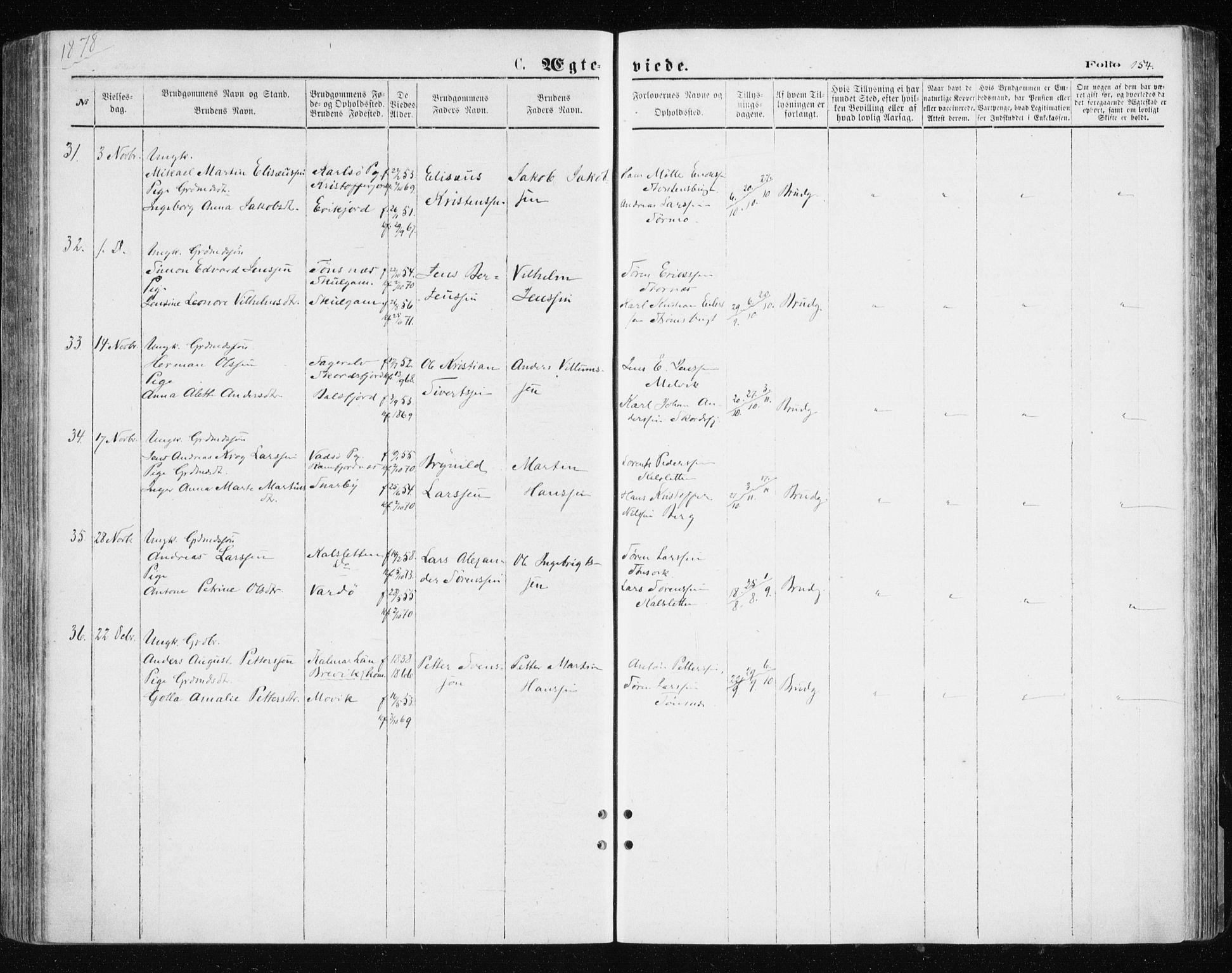 SATØ, Tromsøysund sokneprestkontor, G/Ga/L0003kirke: Ministerialbok nr. 3, 1875-1880, s. 154
