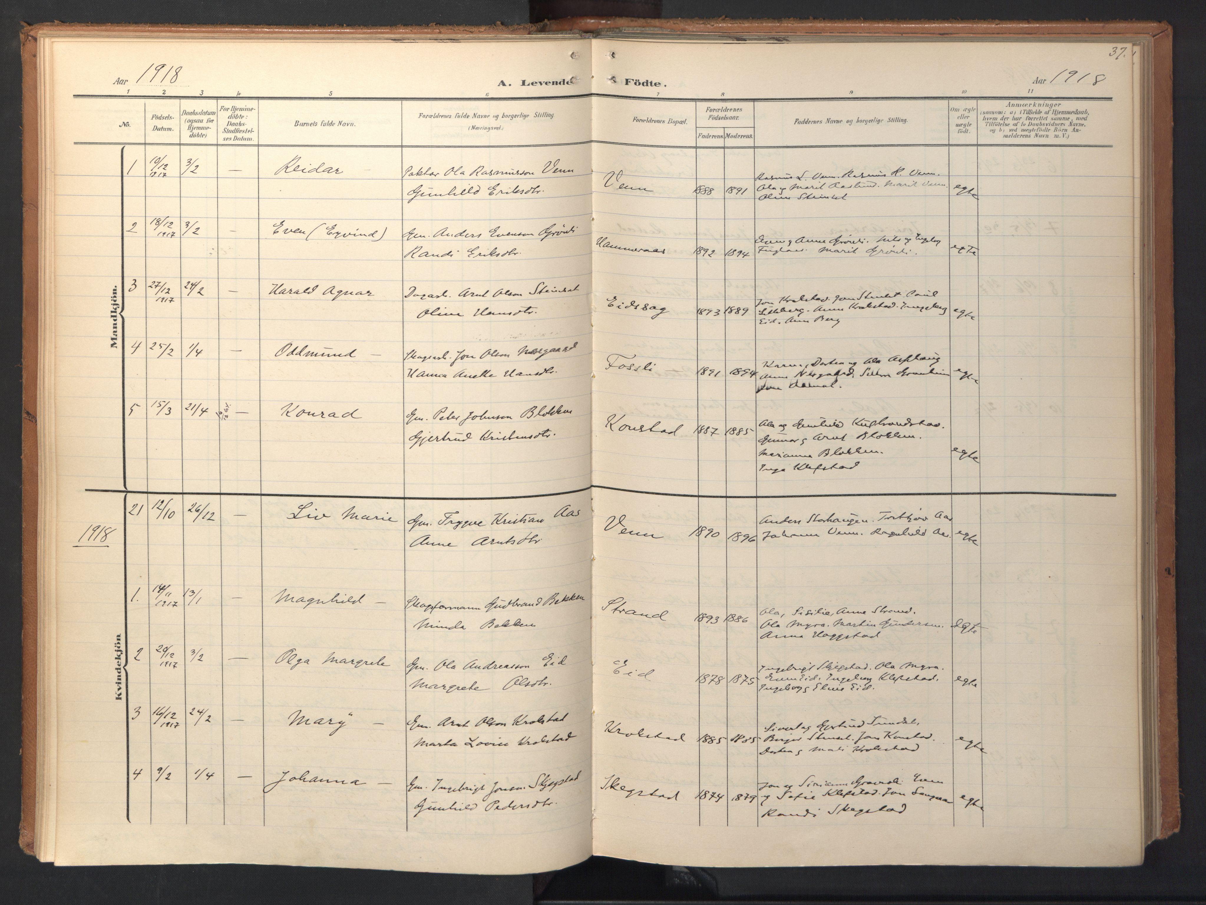 SAT, Ministerialprotokoller, klokkerbøker og fødselsregistre - Sør-Trøndelag, 694/L1128: Ministerialbok nr. 694A02, 1906-1931, s. 37