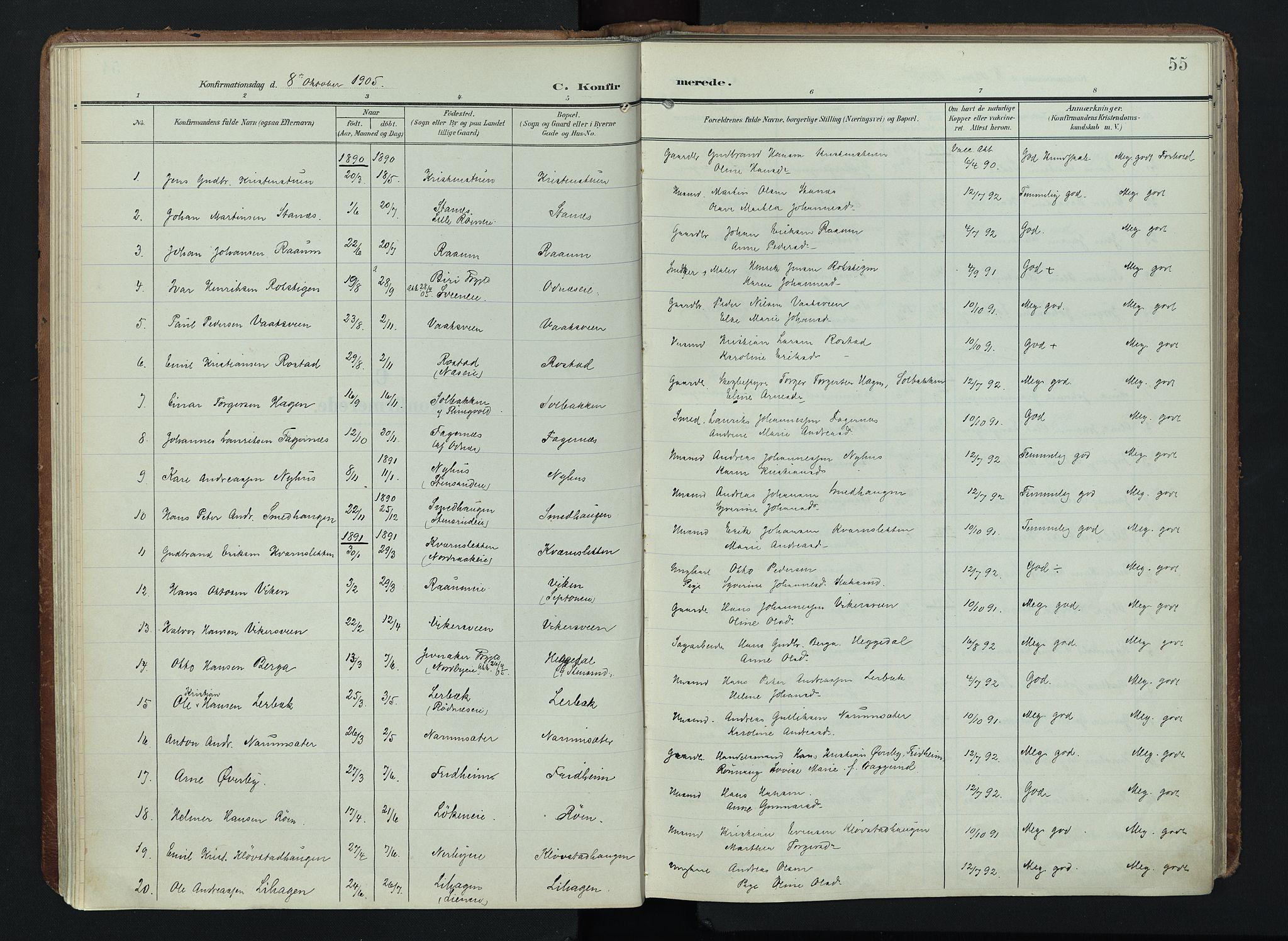 SAH, Søndre Land prestekontor, K/L0005: Ministerialbok nr. 5, 1905-1914, s. 55