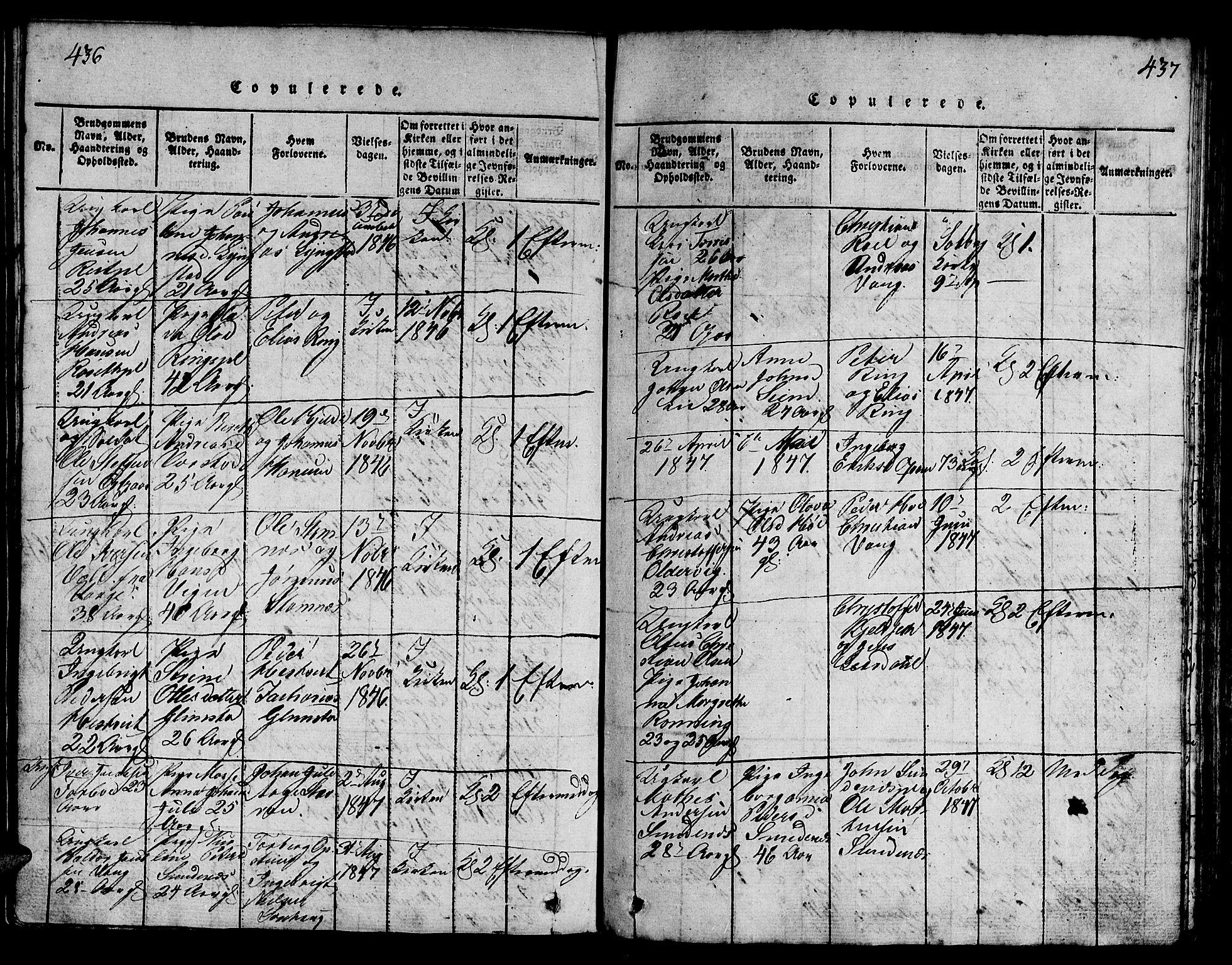 SAT, Ministerialprotokoller, klokkerbøker og fødselsregistre - Nord-Trøndelag, 730/L0298: Klokkerbok nr. 730C01, 1816-1849, s. 436-437