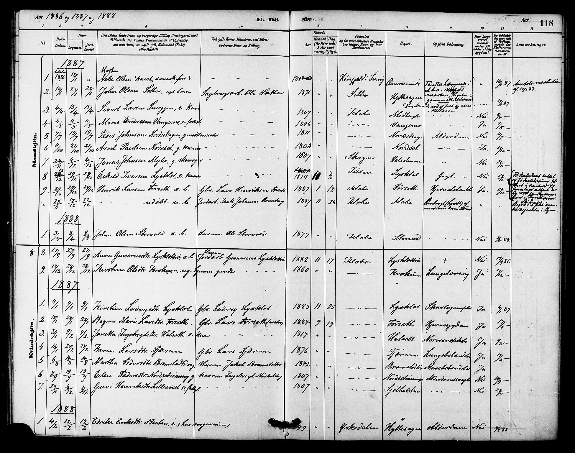 SAT, Ministerialprotokoller, klokkerbøker og fødselsregistre - Sør-Trøndelag, 618/L0444: Ministerialbok nr. 618A07, 1880-1898, s. 118