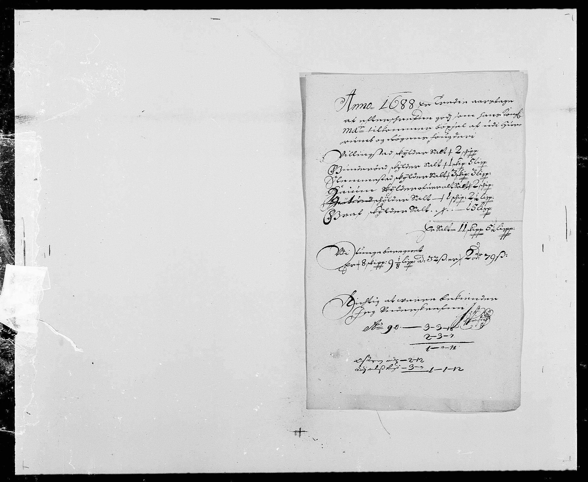 RA, Rentekammeret inntil 1814, Reviderte regnskaper, Fogderegnskap, R29/L1693: Fogderegnskap Hurum og Røyken, 1688-1693, s. 29
