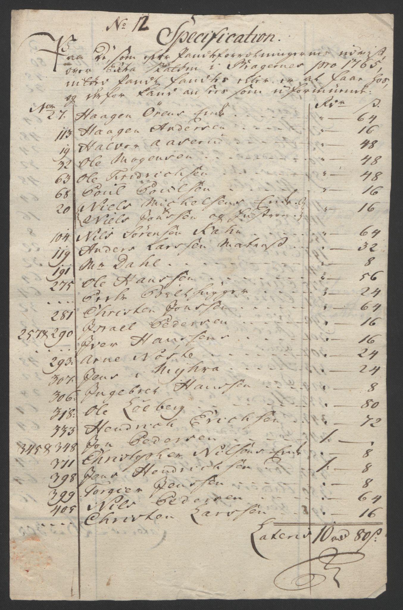 RA, Rentekammeret inntil 1814, Reviderte regnskaper, Byregnskaper, R/Rf/L0119: [F2] Kontribusjonsregnskap, 1762-1767, s. 348