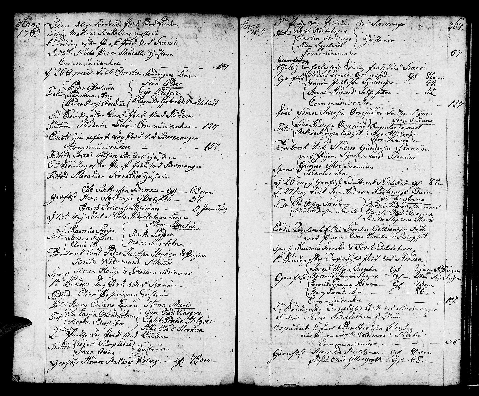 SAB, Kinn Sokneprestembete, Ministerialbok nr. A 2, 1729-1785, s. 367
