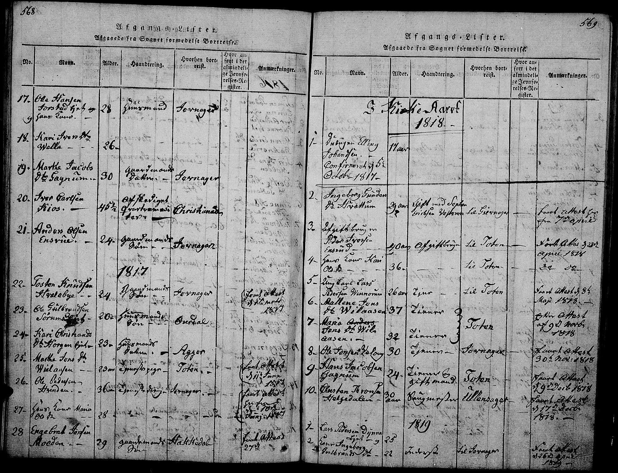 SAH, Gran prestekontor, Klokkerbok nr. 1, 1815-1824, s. 568-569