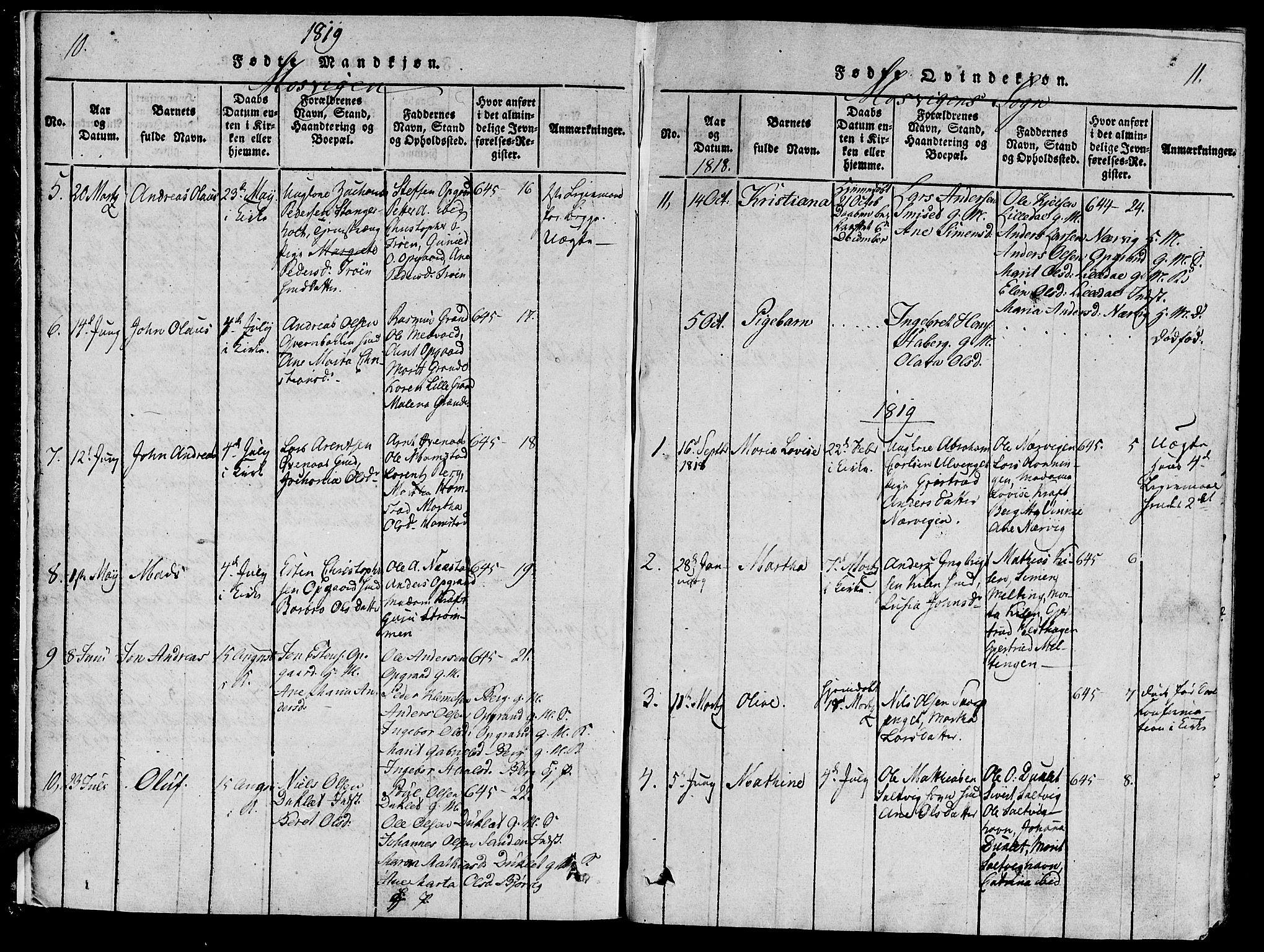 SAT, Ministerialprotokoller, klokkerbøker og fødselsregistre - Nord-Trøndelag, 733/L0322: Ministerialbok nr. 733A01, 1817-1842, s. 10-11
