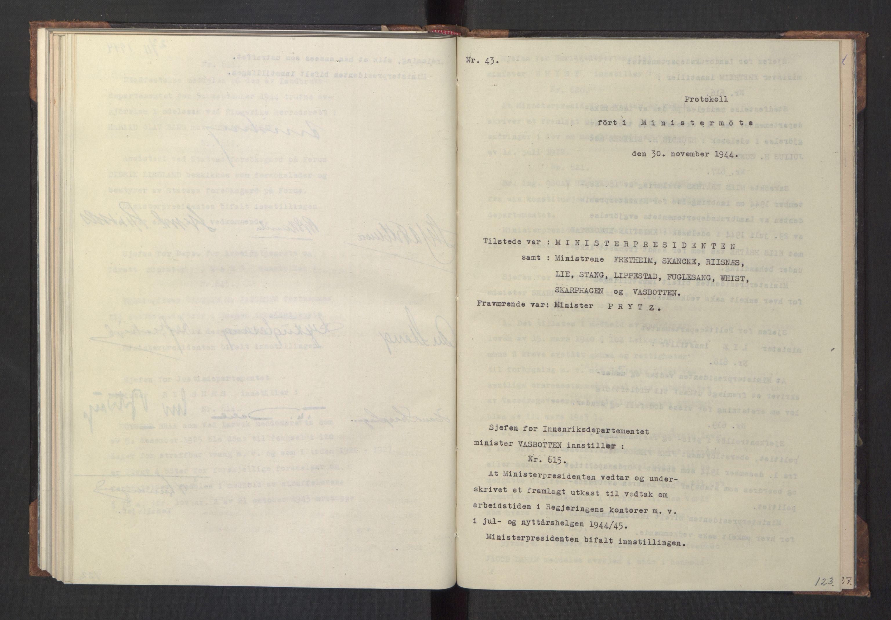 RA, NS-administrasjonen 1940-1945 (Statsrådsekretariatet, de kommisariske statsråder mm), D/Da/L0005: Protokoll fra ministermøter, 1944, s. 122b-123a
