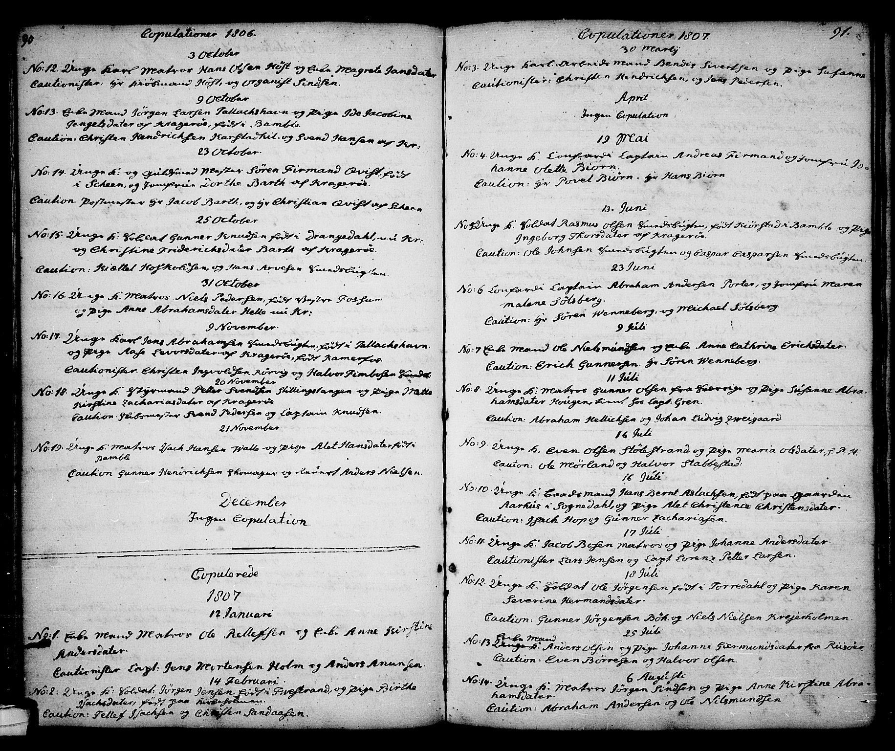 SAKO, Kragerø kirkebøker, G/Ga/L0001: Klokkerbok nr. 1 /1, 1806-1811, s. 90-91