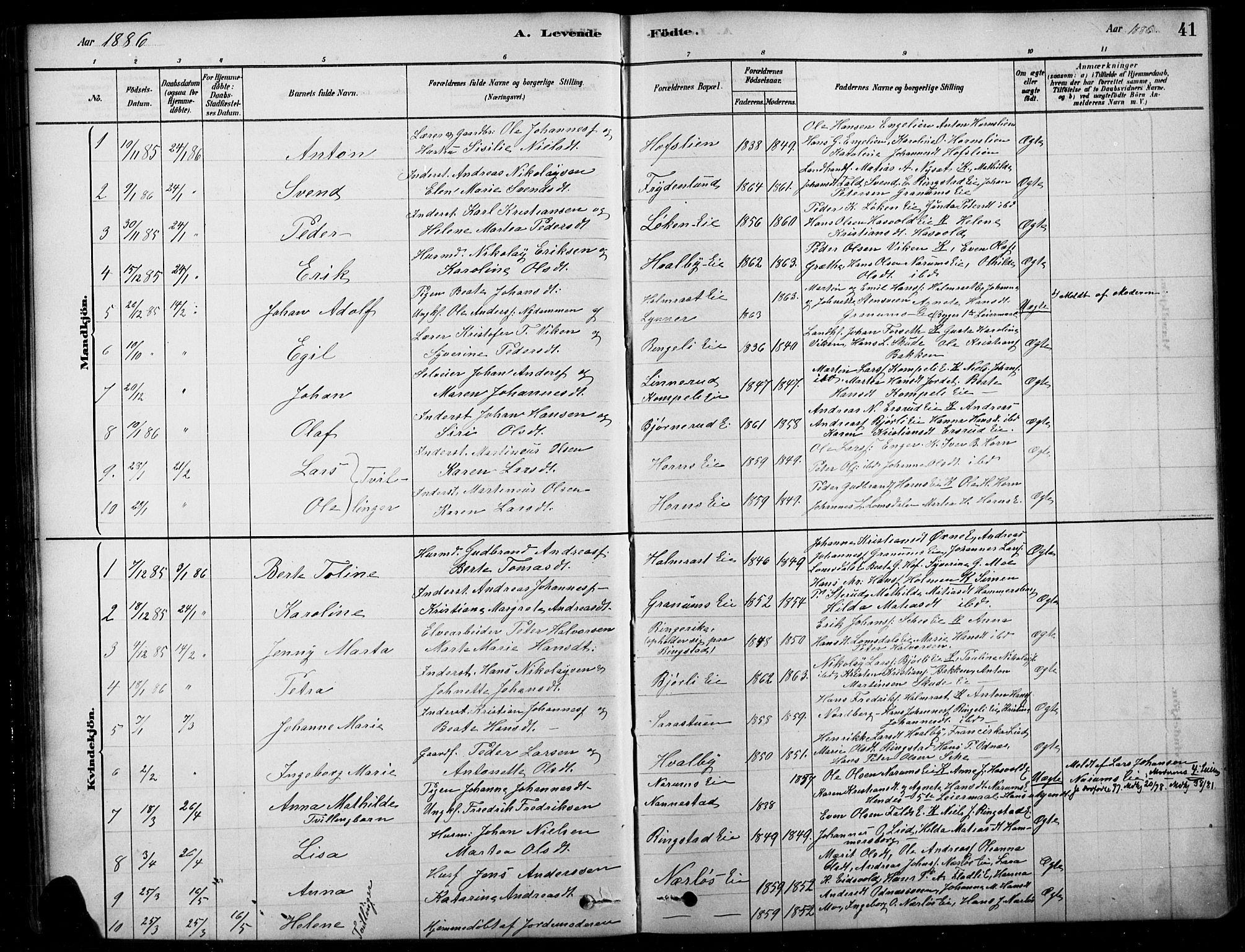 SAH, Søndre Land prestekontor, K/L0003: Ministerialbok nr. 3, 1878-1894, s. 41
