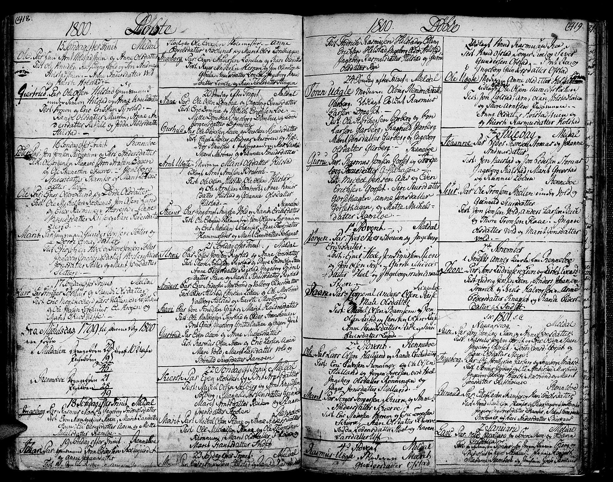 SAT, Ministerialprotokoller, klokkerbøker og fødselsregistre - Sør-Trøndelag, 672/L0852: Ministerialbok nr. 672A05, 1776-1815, s. 418-419
