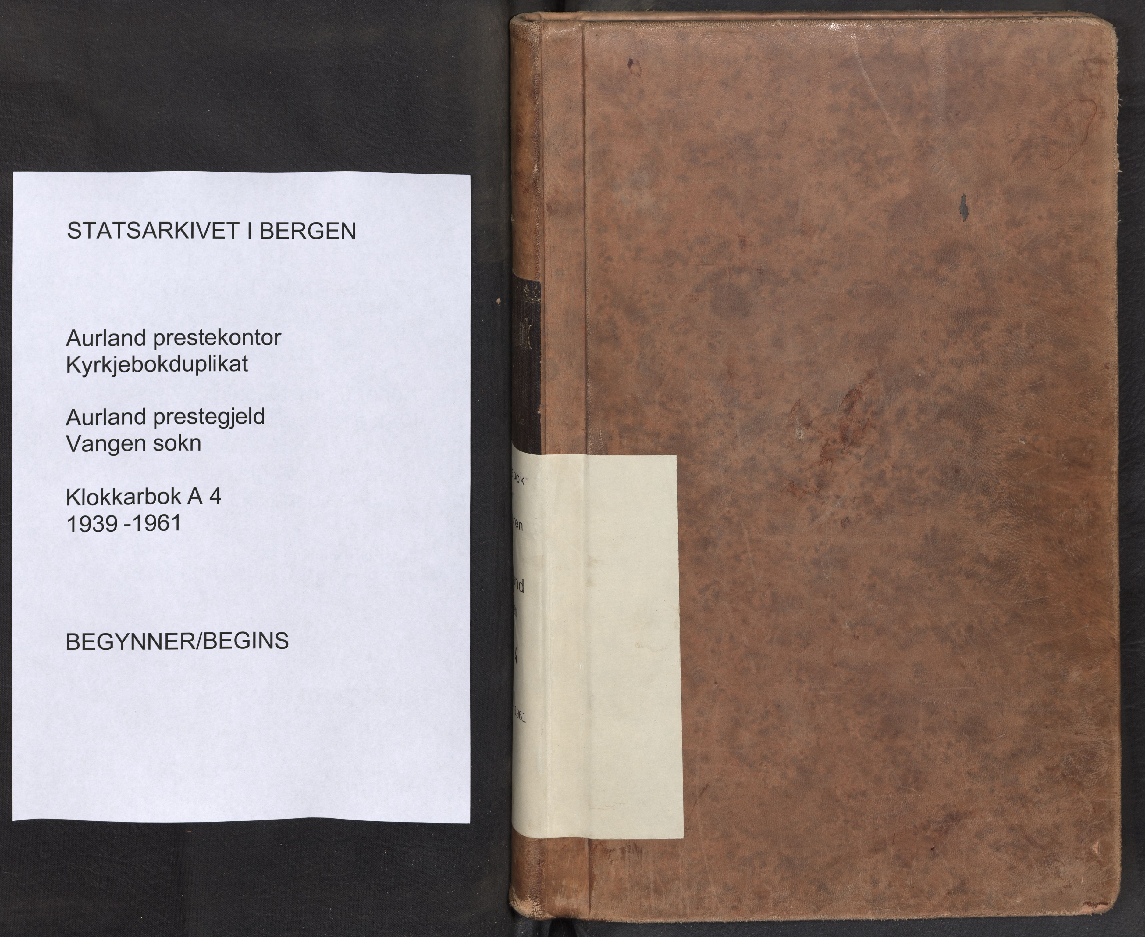 SAB, Aurland Sokneprestembete*, Klokkerbok nr. A 4, 1939-1961