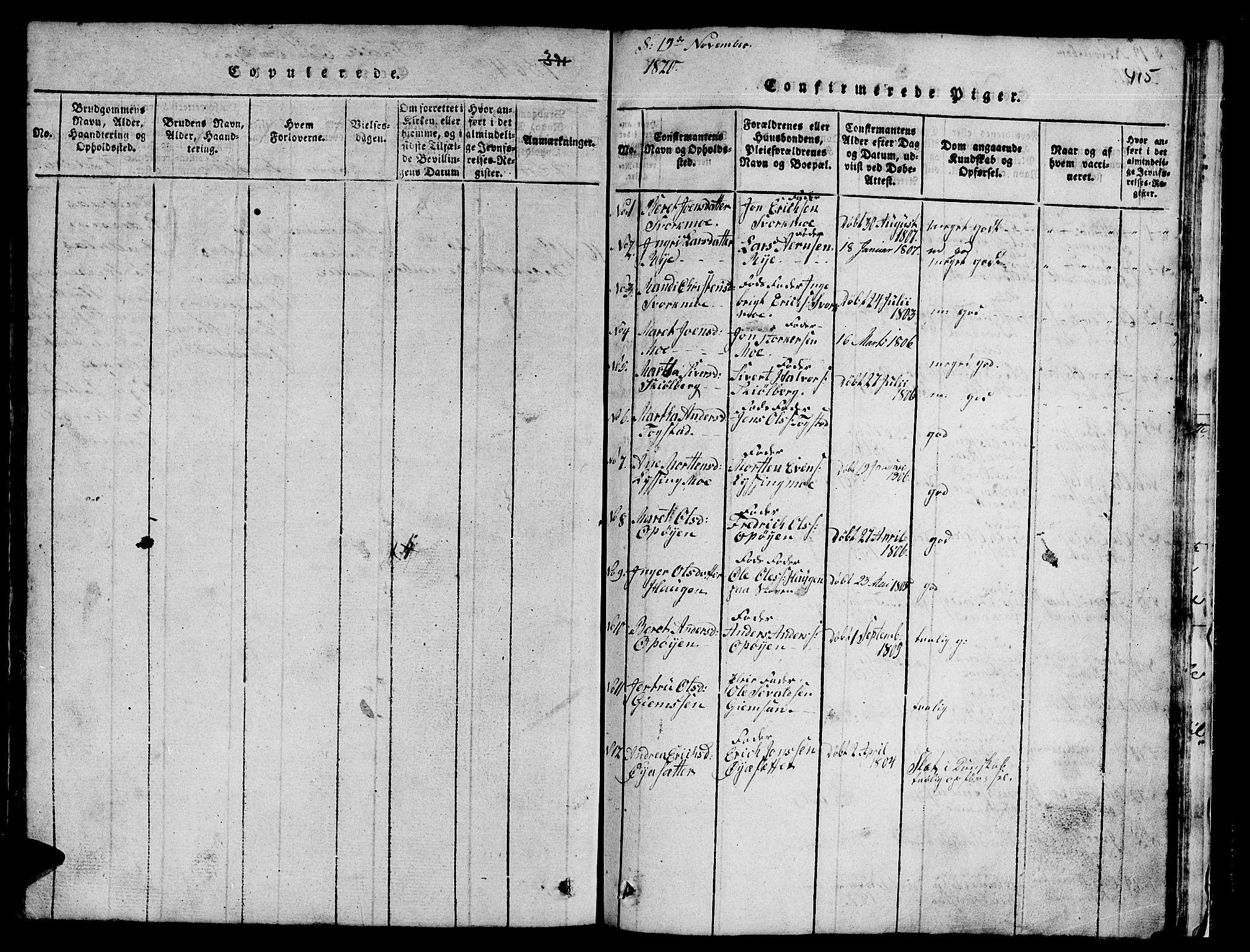 SAT, Ministerialprotokoller, klokkerbøker og fødselsregistre - Sør-Trøndelag, 671/L0842: Klokkerbok nr. 671C01, 1816-1867, s. 414-415
