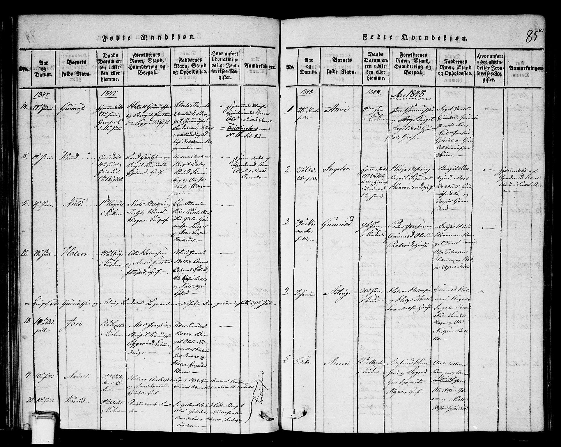 SAKO, Tinn kirkebøker, G/Gb/L0001: Klokkerbok nr. II 1 /2, 1837-1850, s. 85