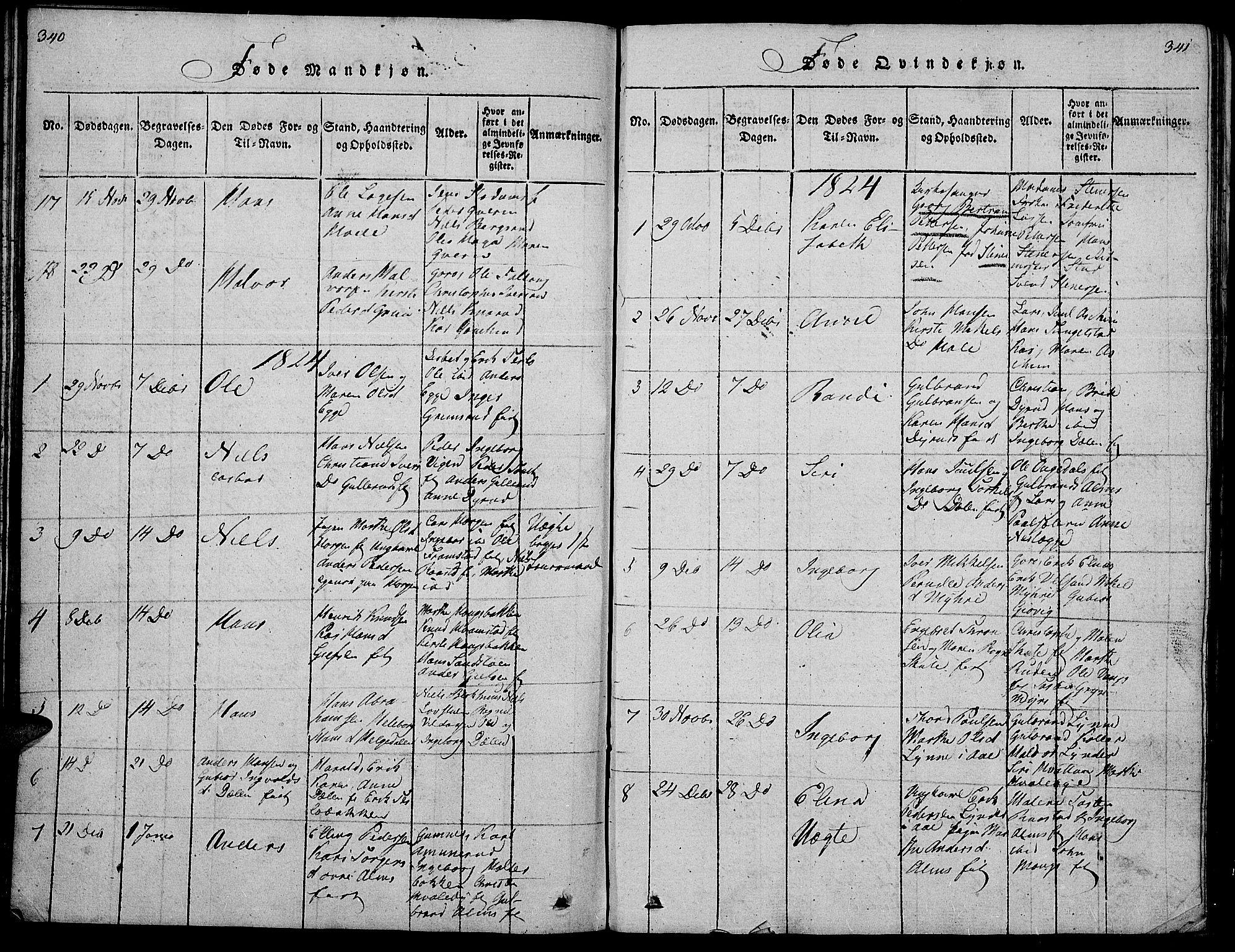 SAH, Gran prestekontor, Klokkerbok nr. 1, 1815-1824, s. 340-341