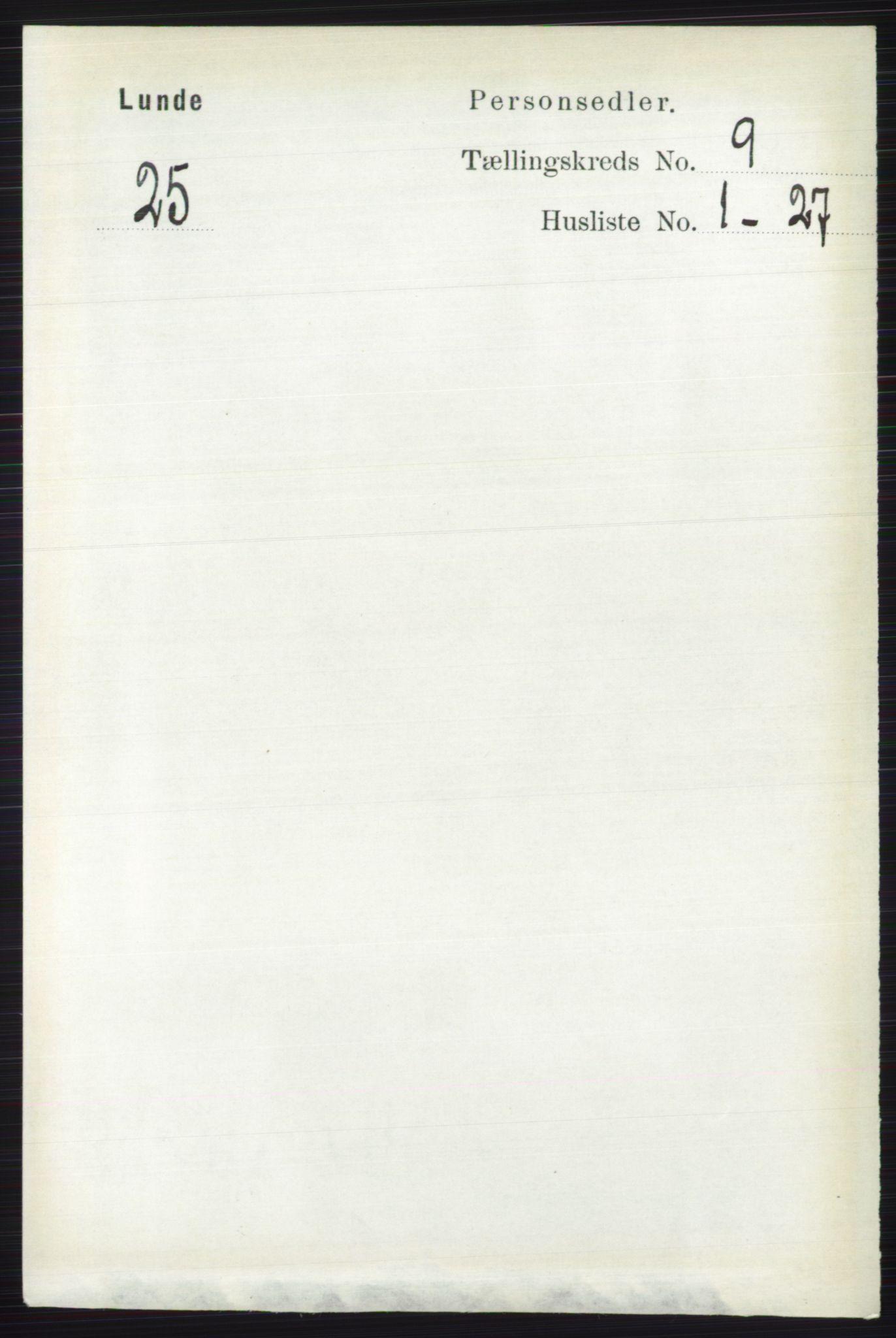 RA, Folketelling 1891 for 0820 Lunde herred, 1891, s. 2722