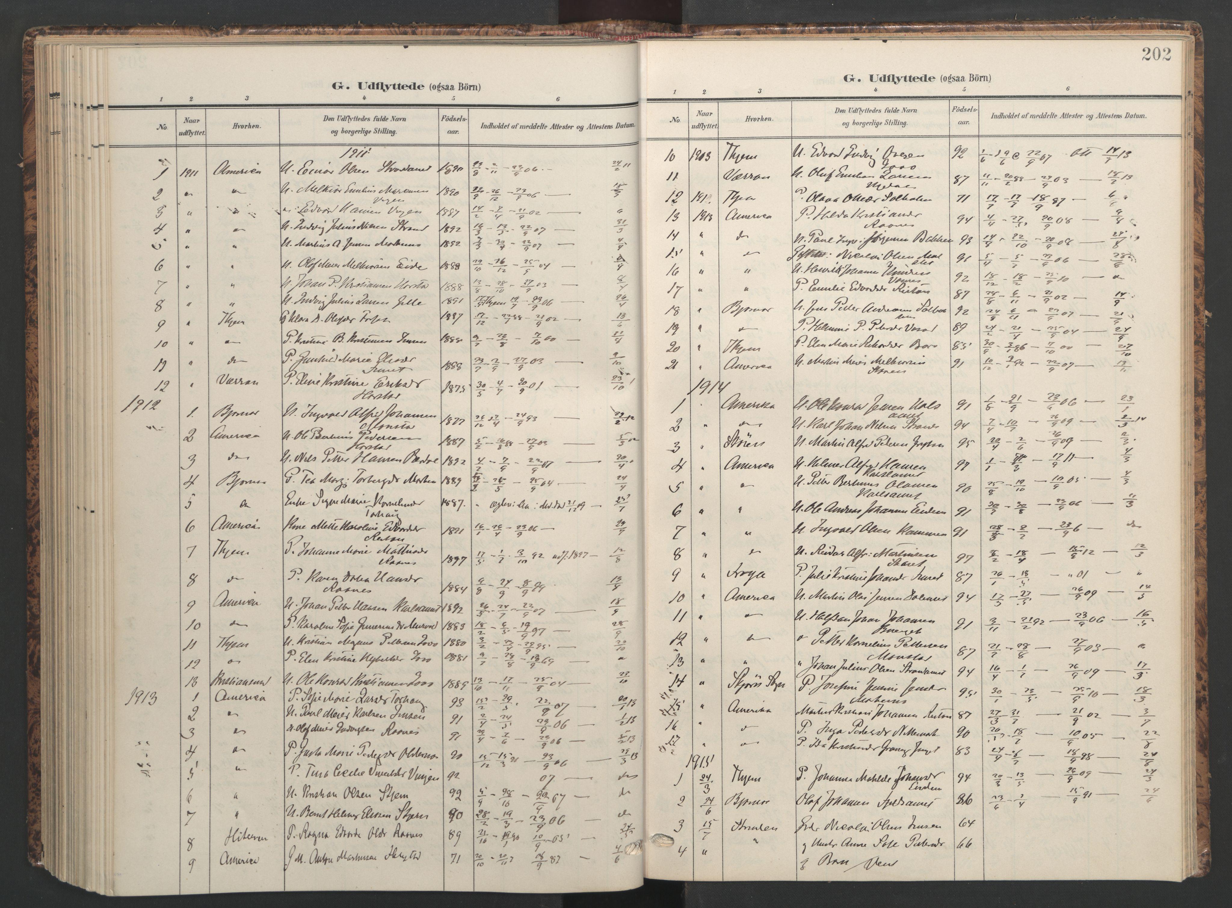 SAT, Ministerialprotokoller, klokkerbøker og fødselsregistre - Sør-Trøndelag, 655/L0682: Ministerialbok nr. 655A11, 1908-1922, s. 202