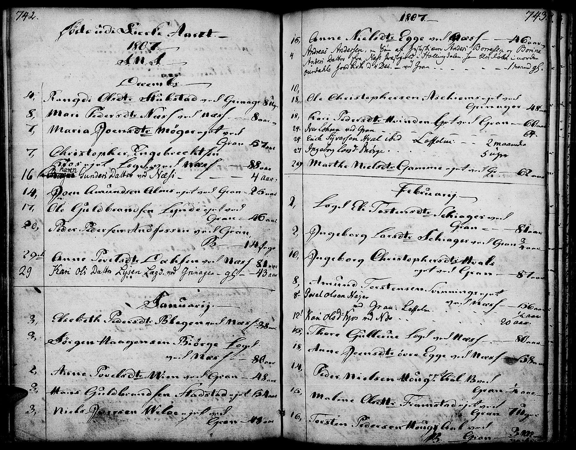 SAH, Gran prestekontor, Ministerialbok nr. 6, 1787-1824, s. 742-743