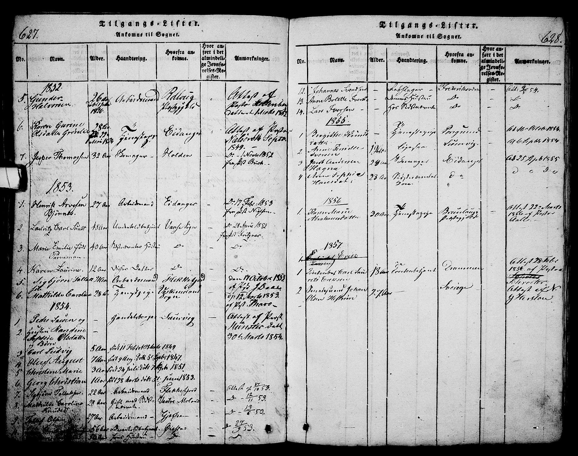SAKO, Langesund kirkebøker, G/Ga/L0003: Klokkerbok nr. 3, 1815-1858, s. 627-628